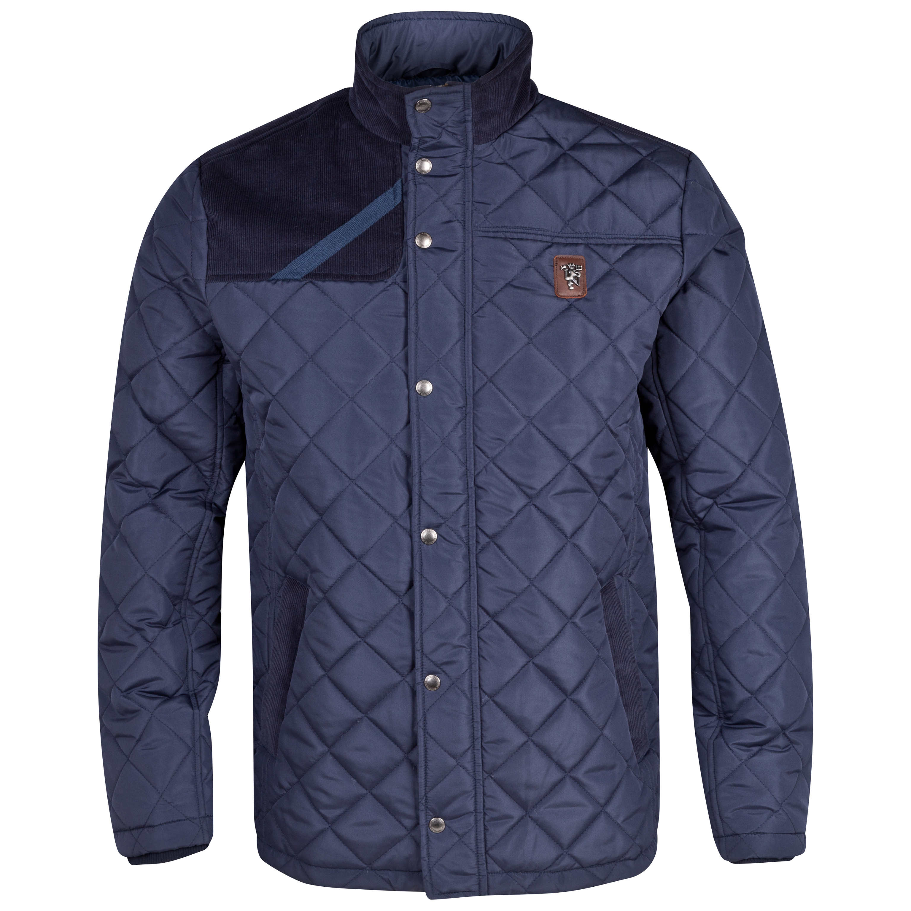 Manchester United Heritage Quilted Jacket  - Mens Navy