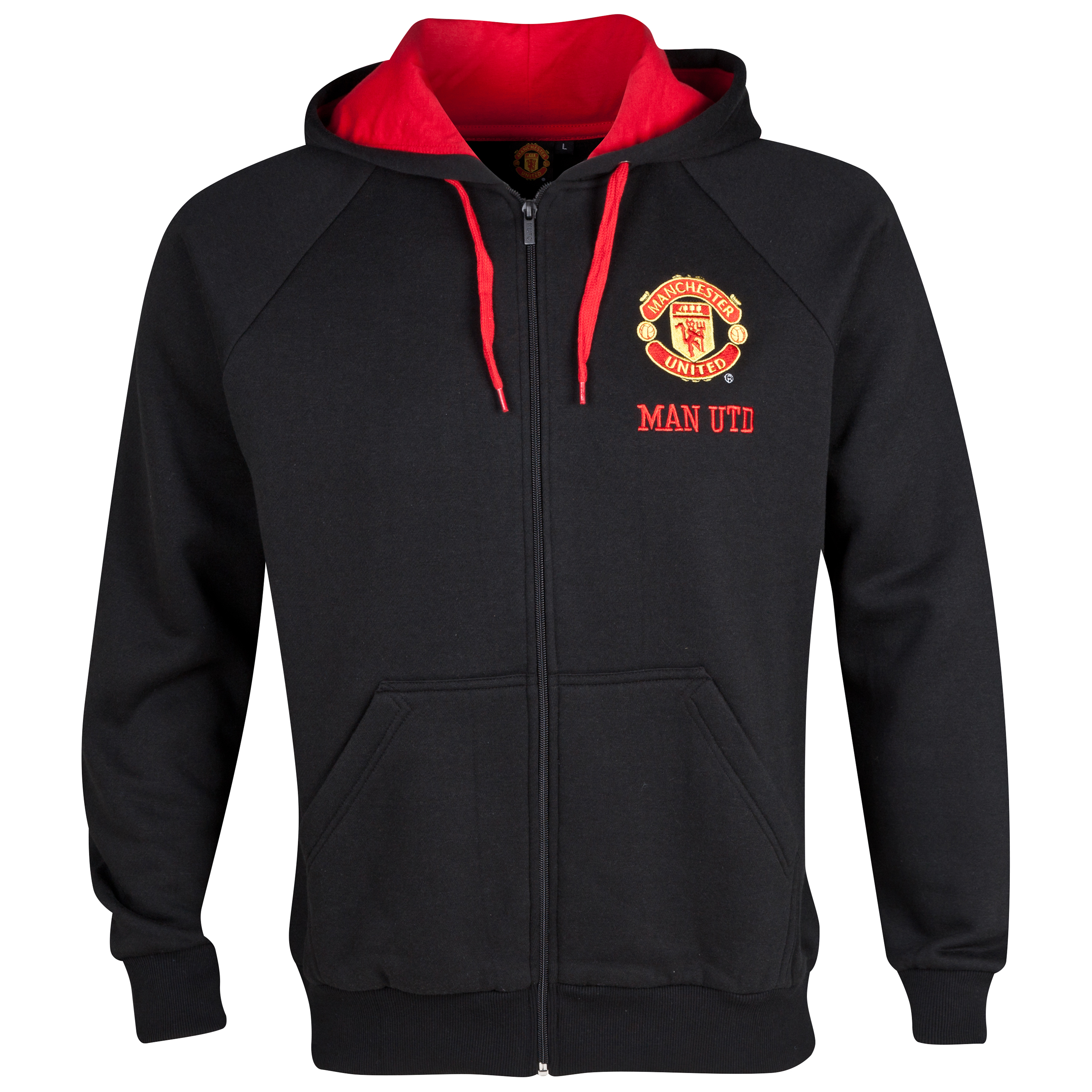 Manchester United Classic Zip Thru Fleece Hoody  - Mens Black