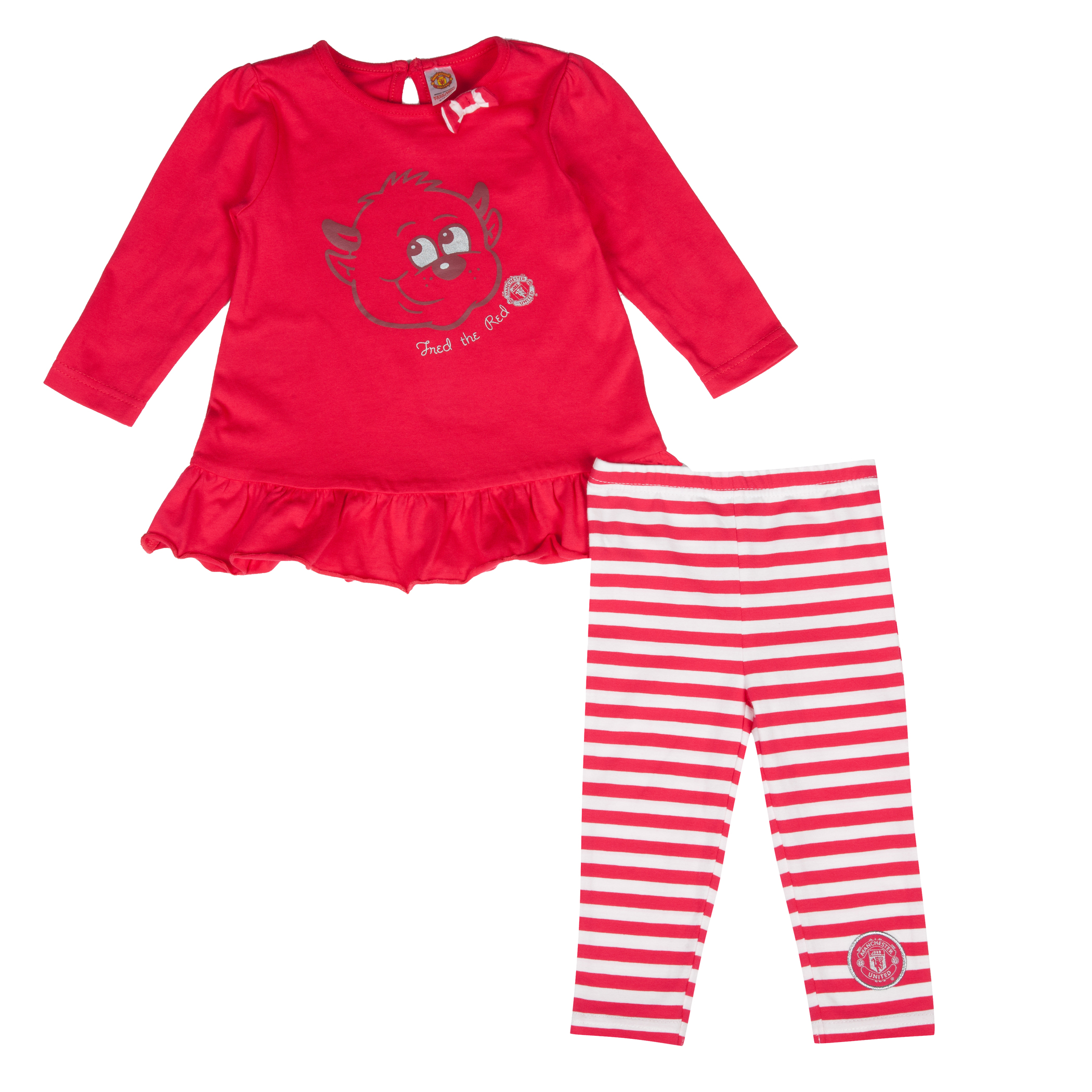 Manchester United Fred The Red Top and Leggings Set Baby Girls Red