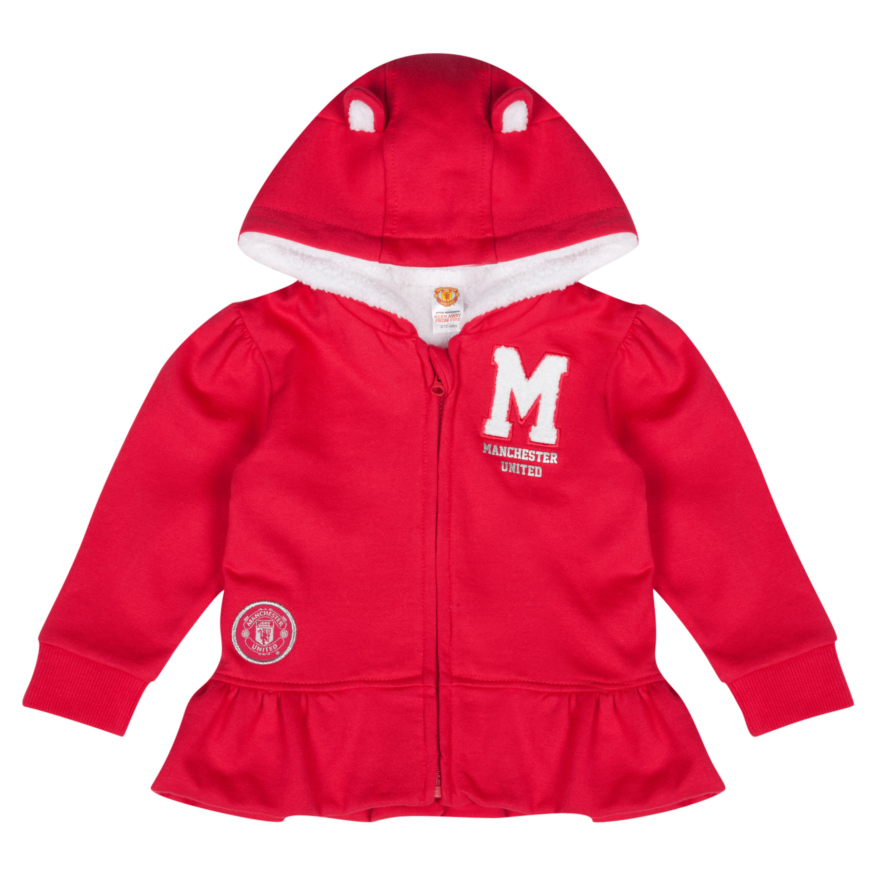 Manchester United Manchester United Frilly Full Zip Hoodie - Baby Girls Red