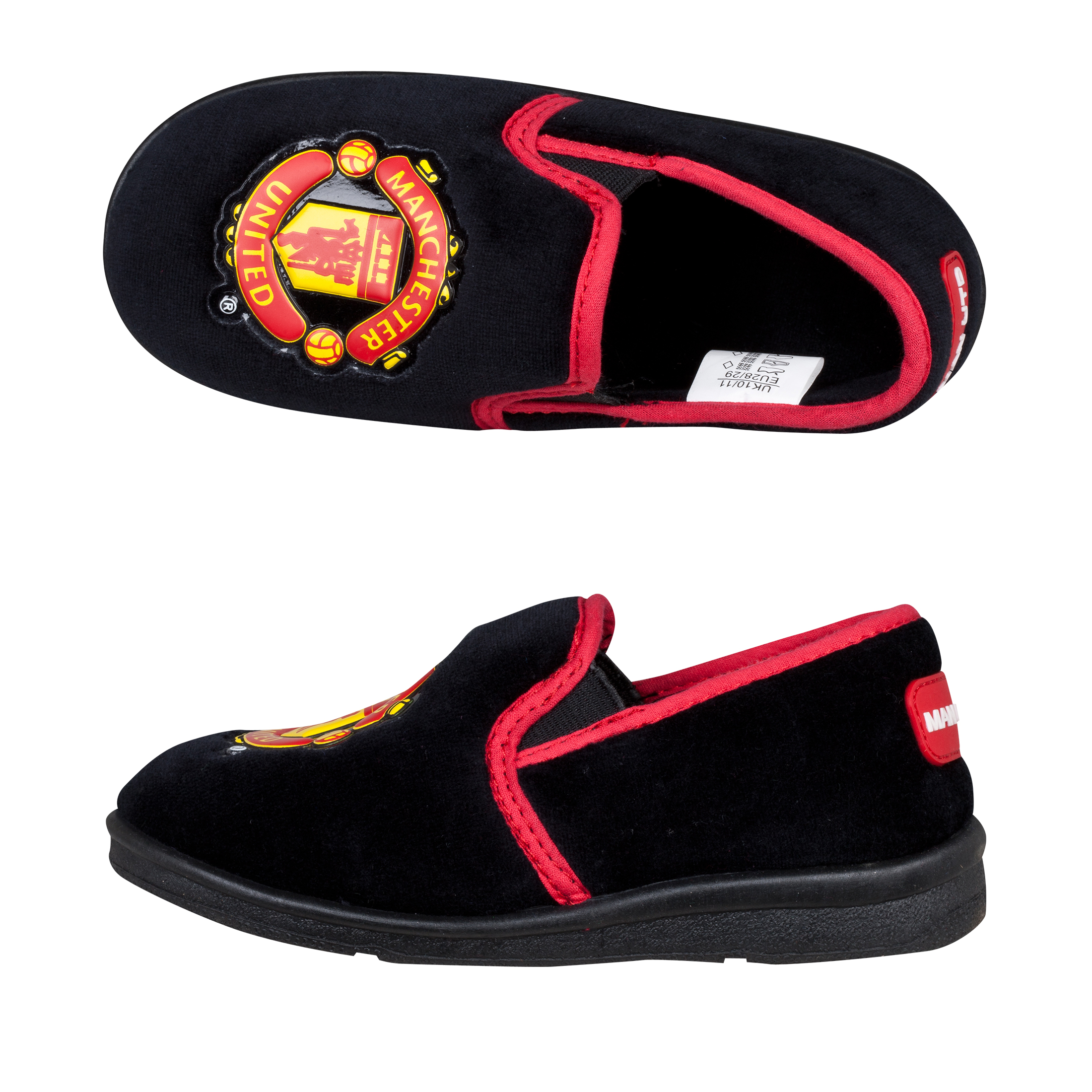 Manchester United New Heel Slipper Black Infant Boys Red