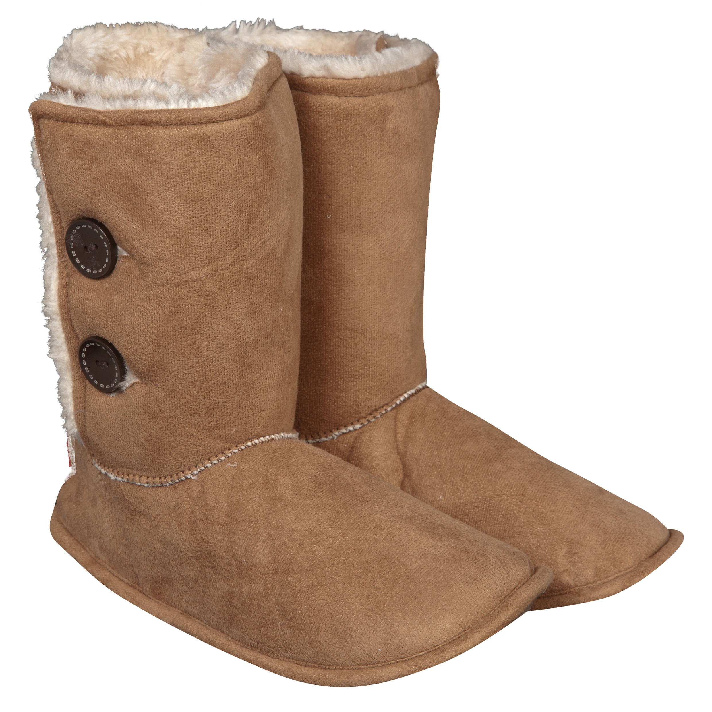 Manchester United Button Boot Slipper Tan Womens Tan