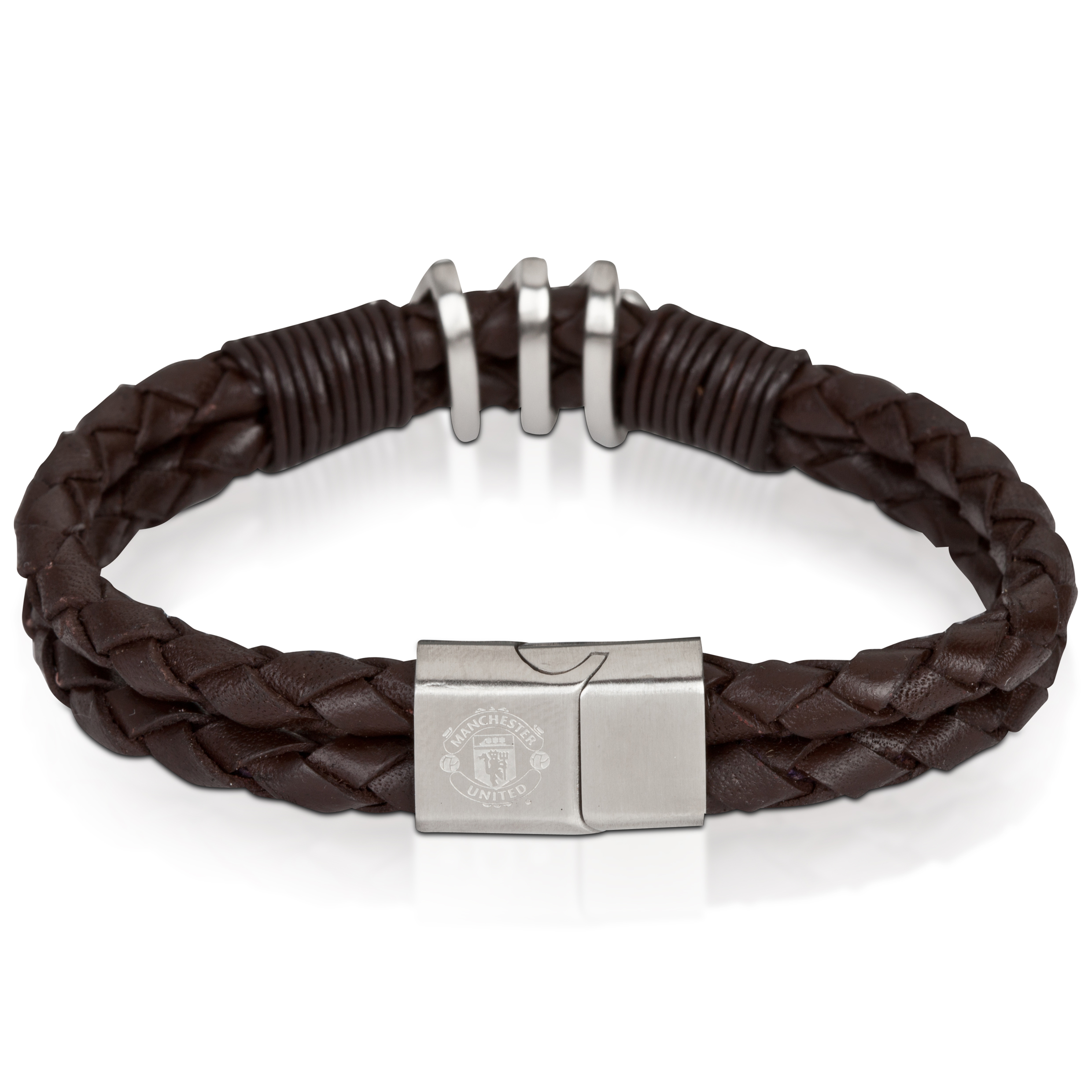 Manchester United Brown Leather Bracelet - Stainless Steel