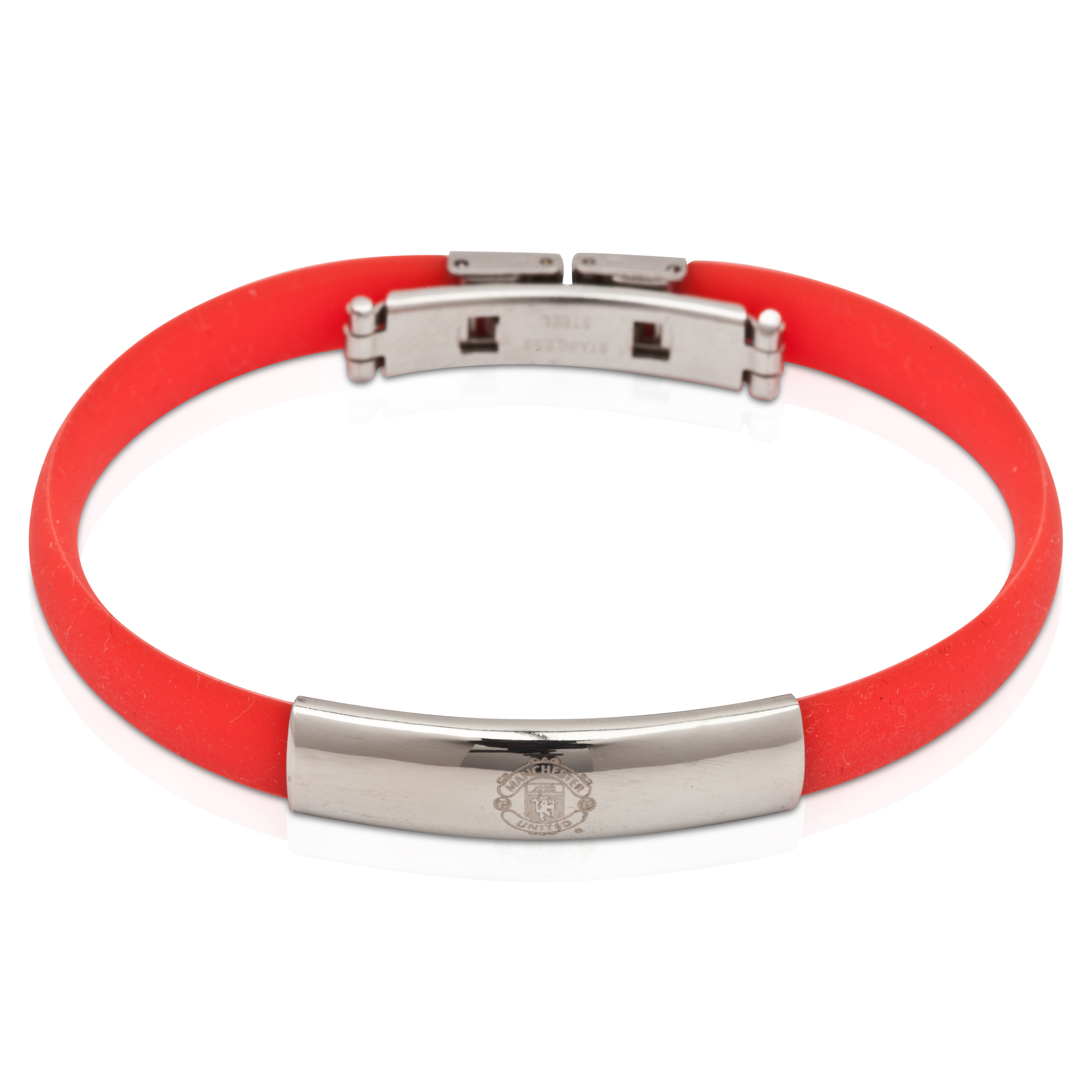 Manchester United Rubber Band Crest Bracelet - Stainless Steel