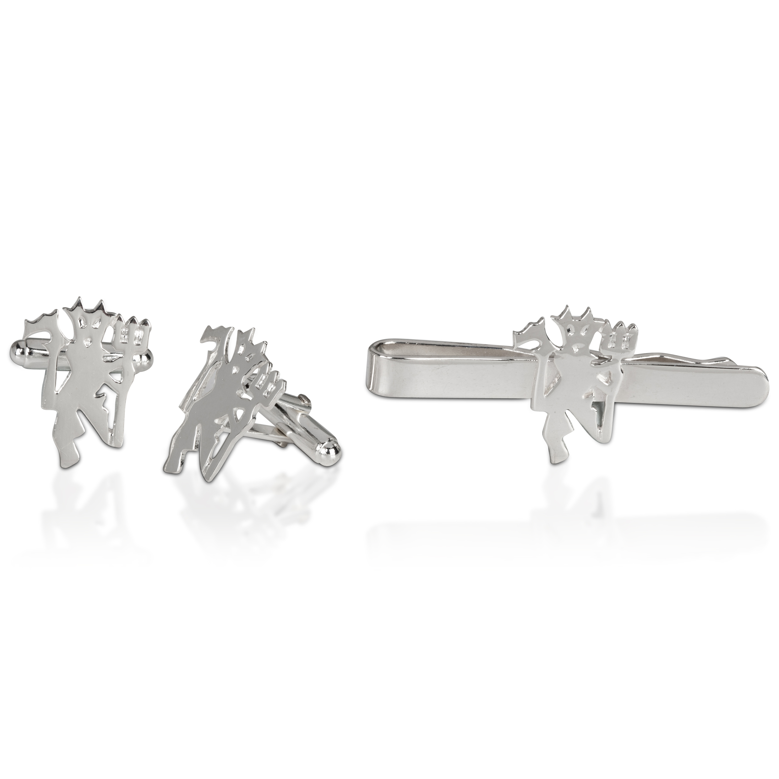 Manchester United Devil Cufflink &amp; Tie Slide Set - Sterling Silver