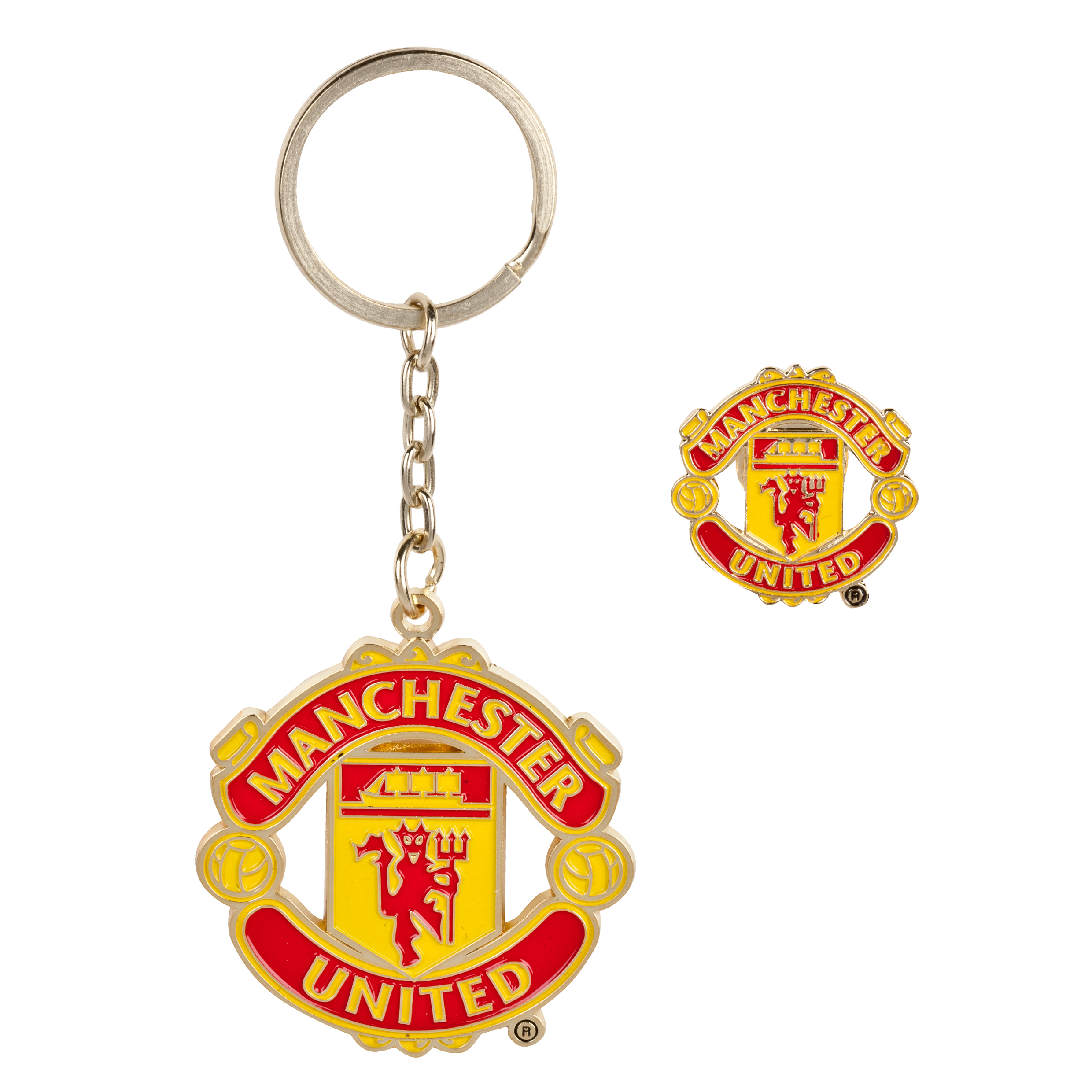Manchester United Crest Badge and Keyring Set
