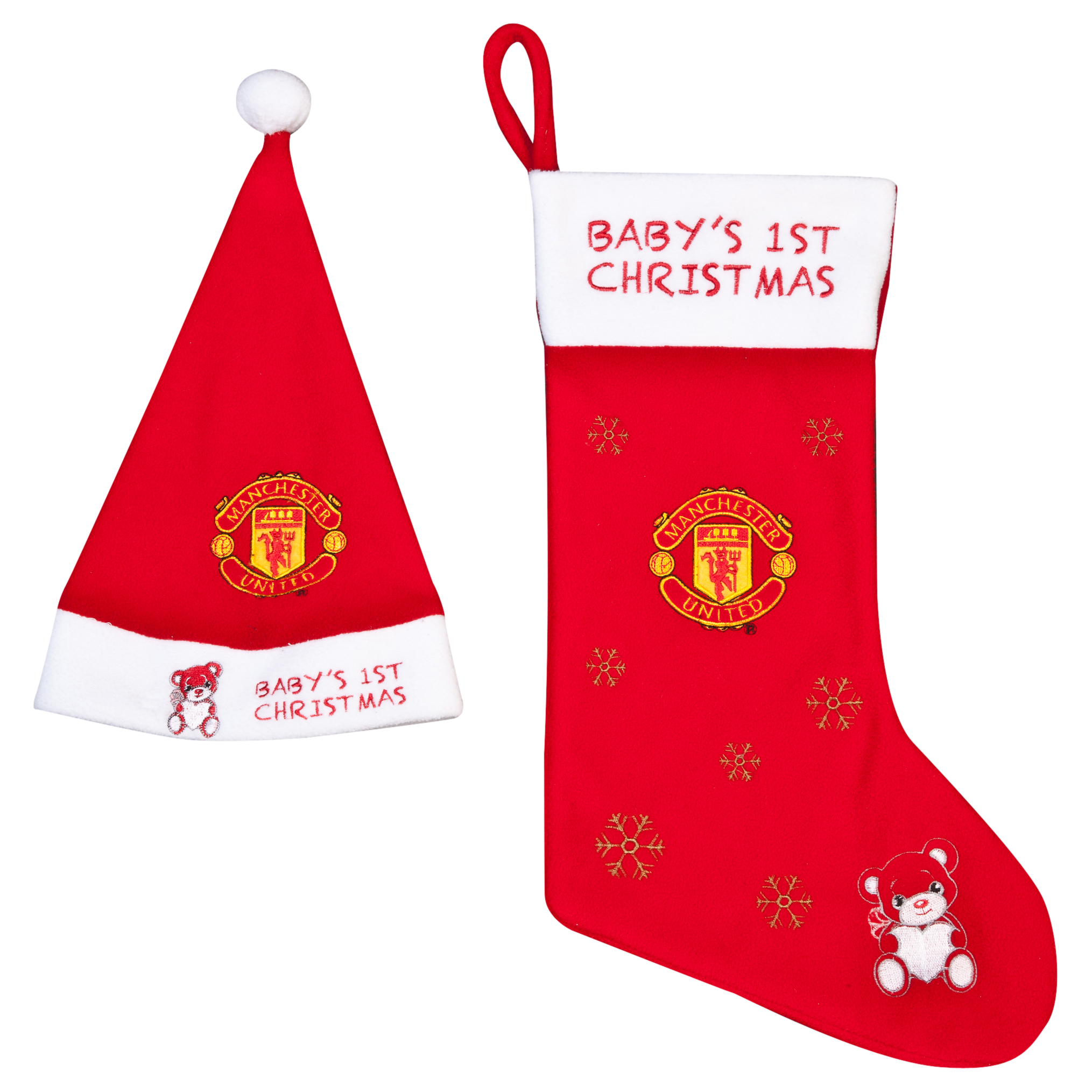 Manchester United Christmas Babys 1st Hat and Stocking Set