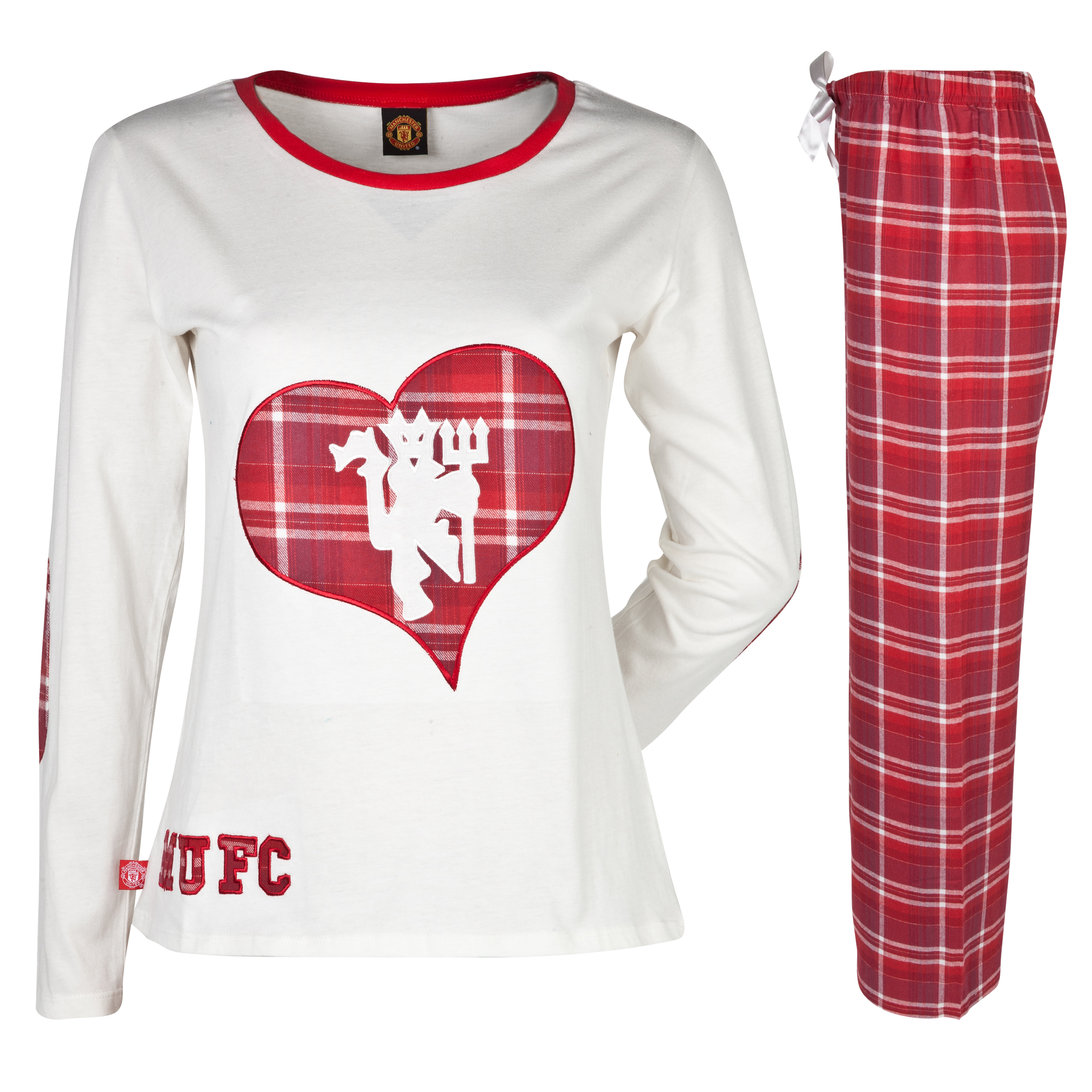 Manchester United Checked Heart Pyjamas - Womens Cream