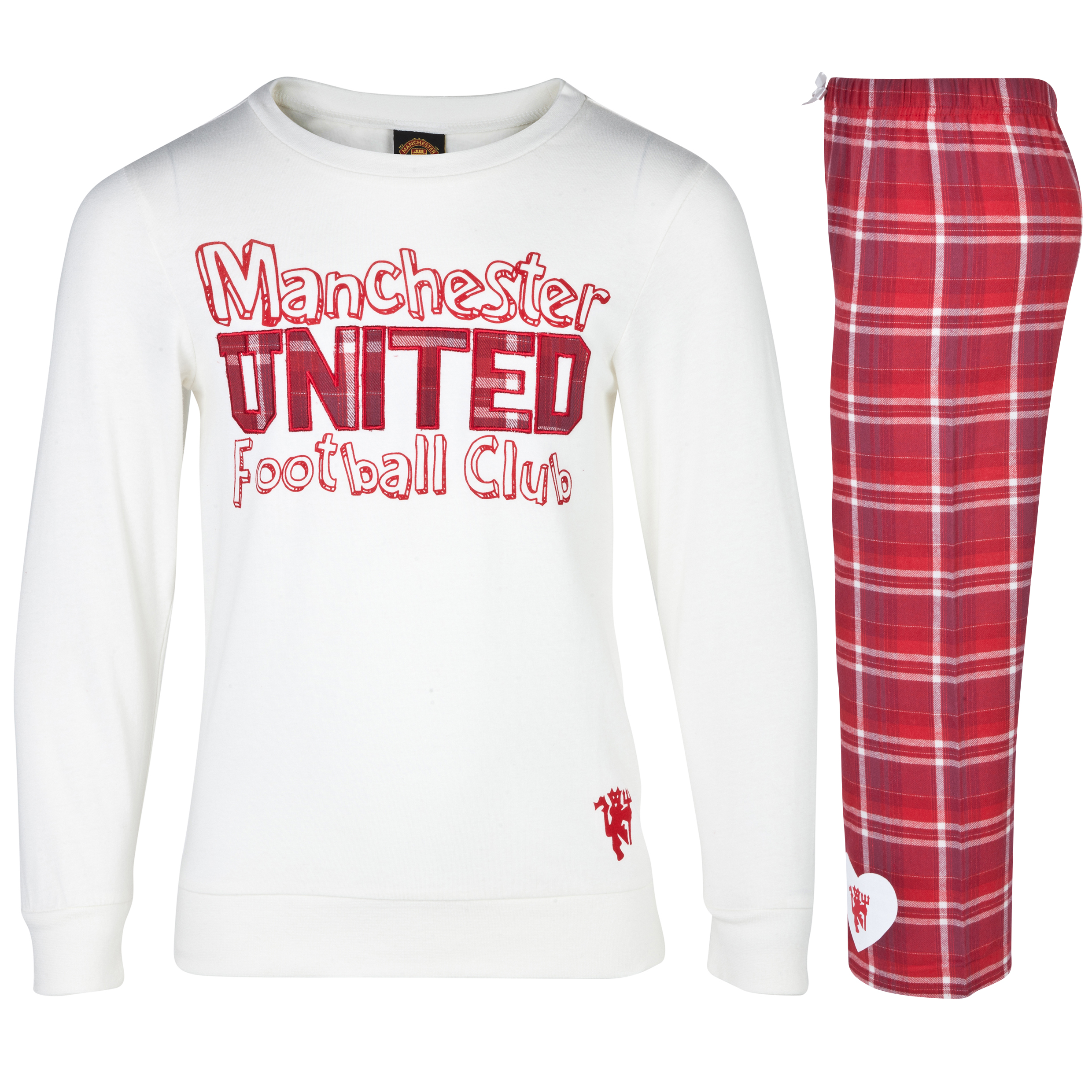 Manchester United Checked Graphic Pyjamas - Older Girls Cream