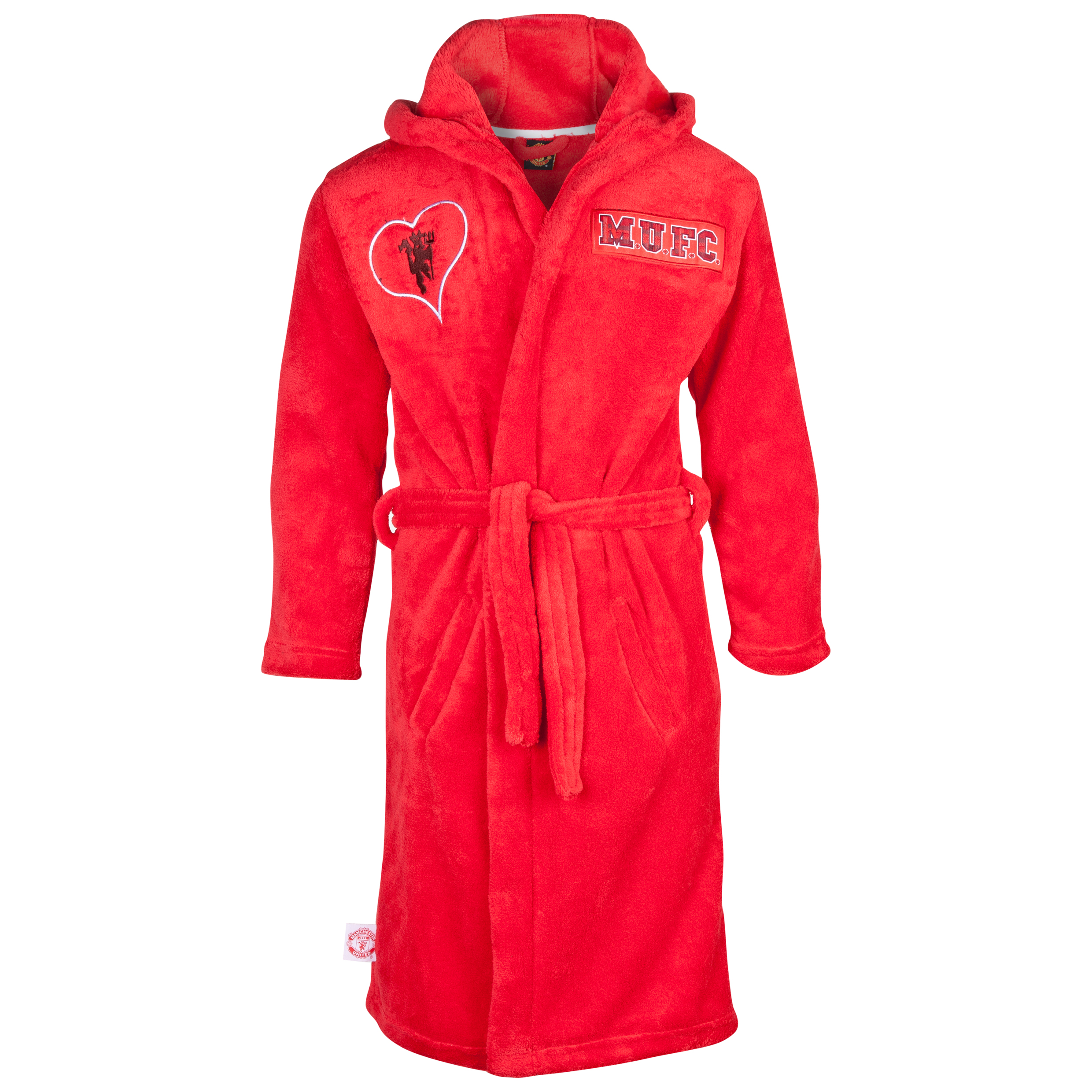 Manchester United Heart Devil Hooded Robe - Older Girls Red