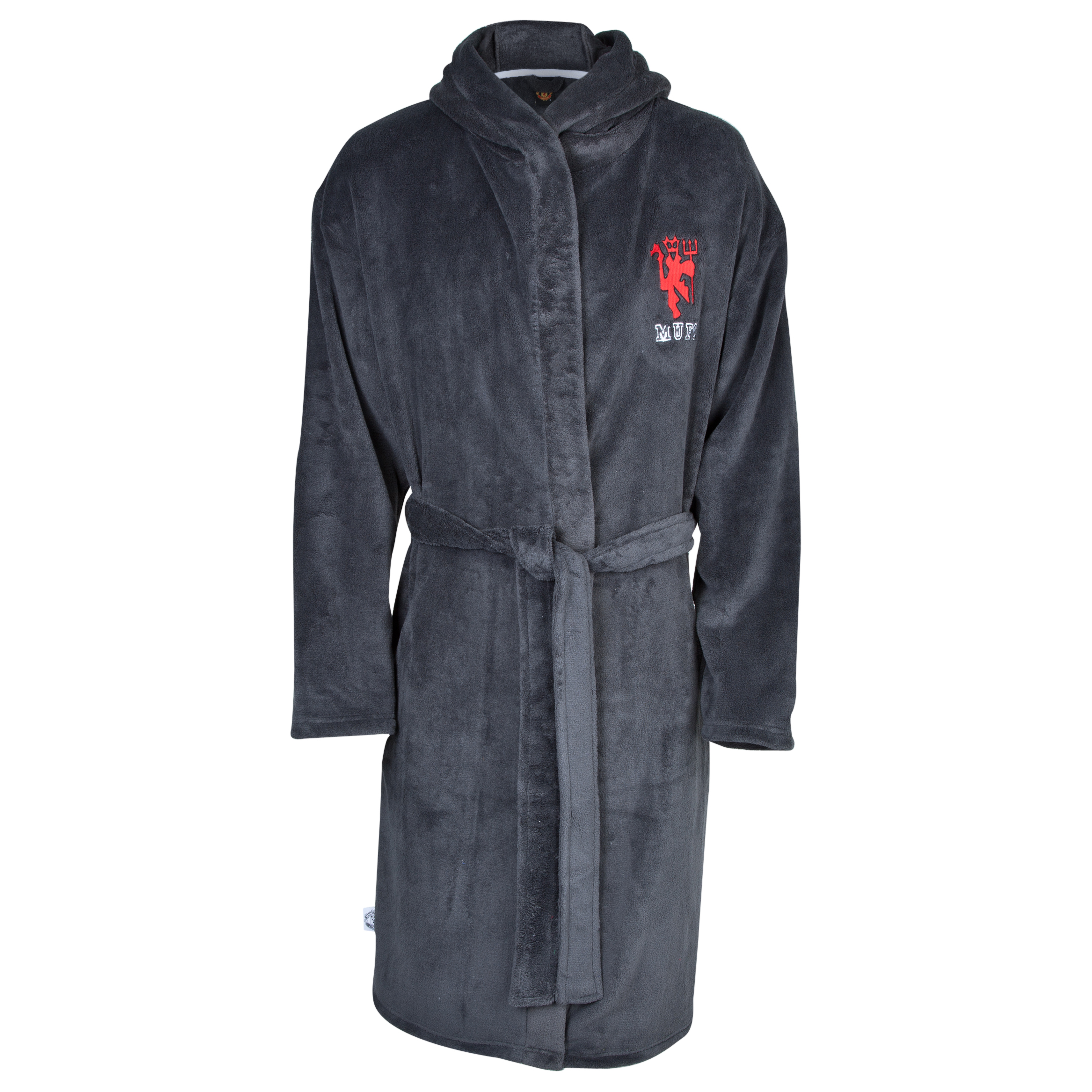 Manchester United Devil Hooded Robe - Older Boys Charcoal