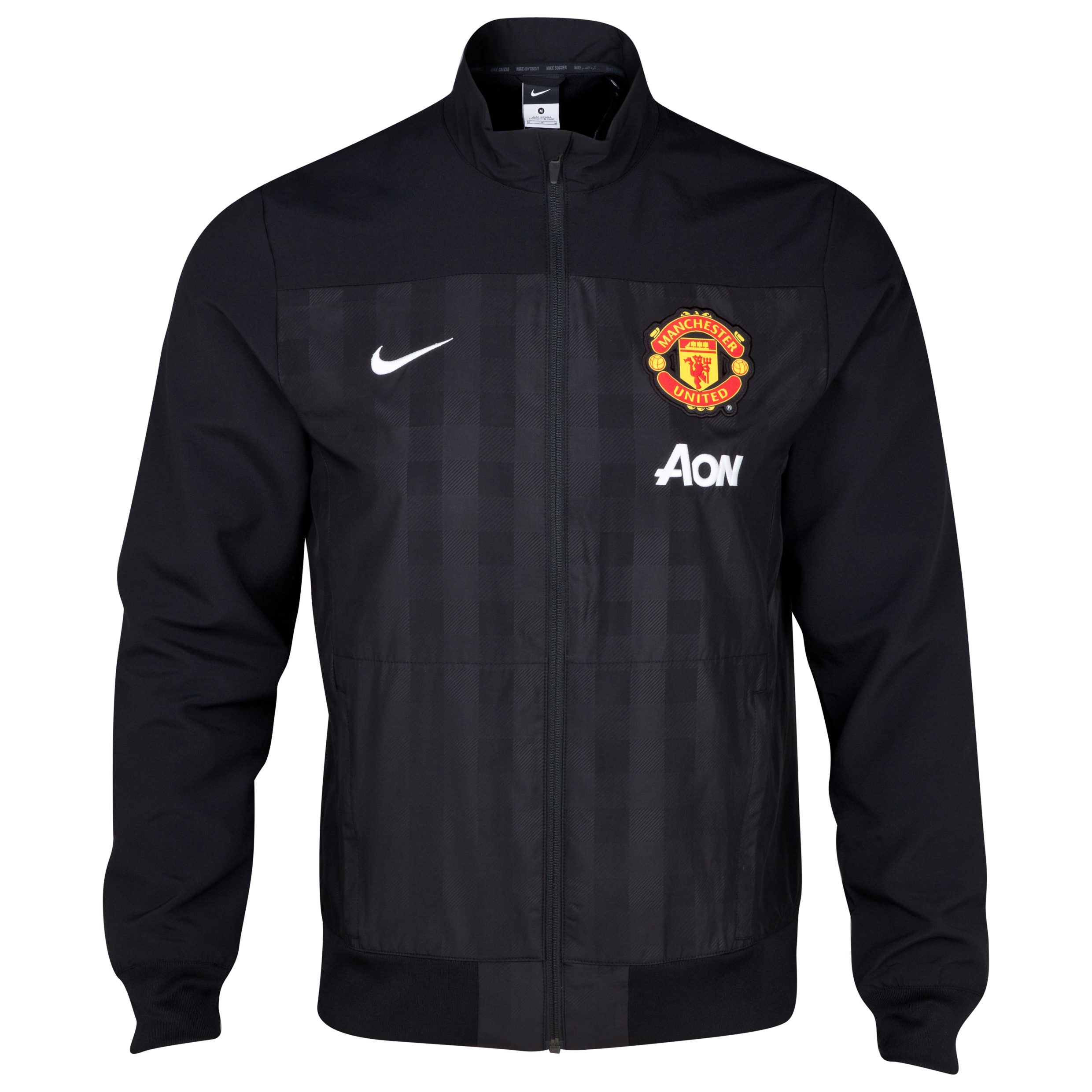 Manchester United Squad Sideline Woven Gingham Jacket Black