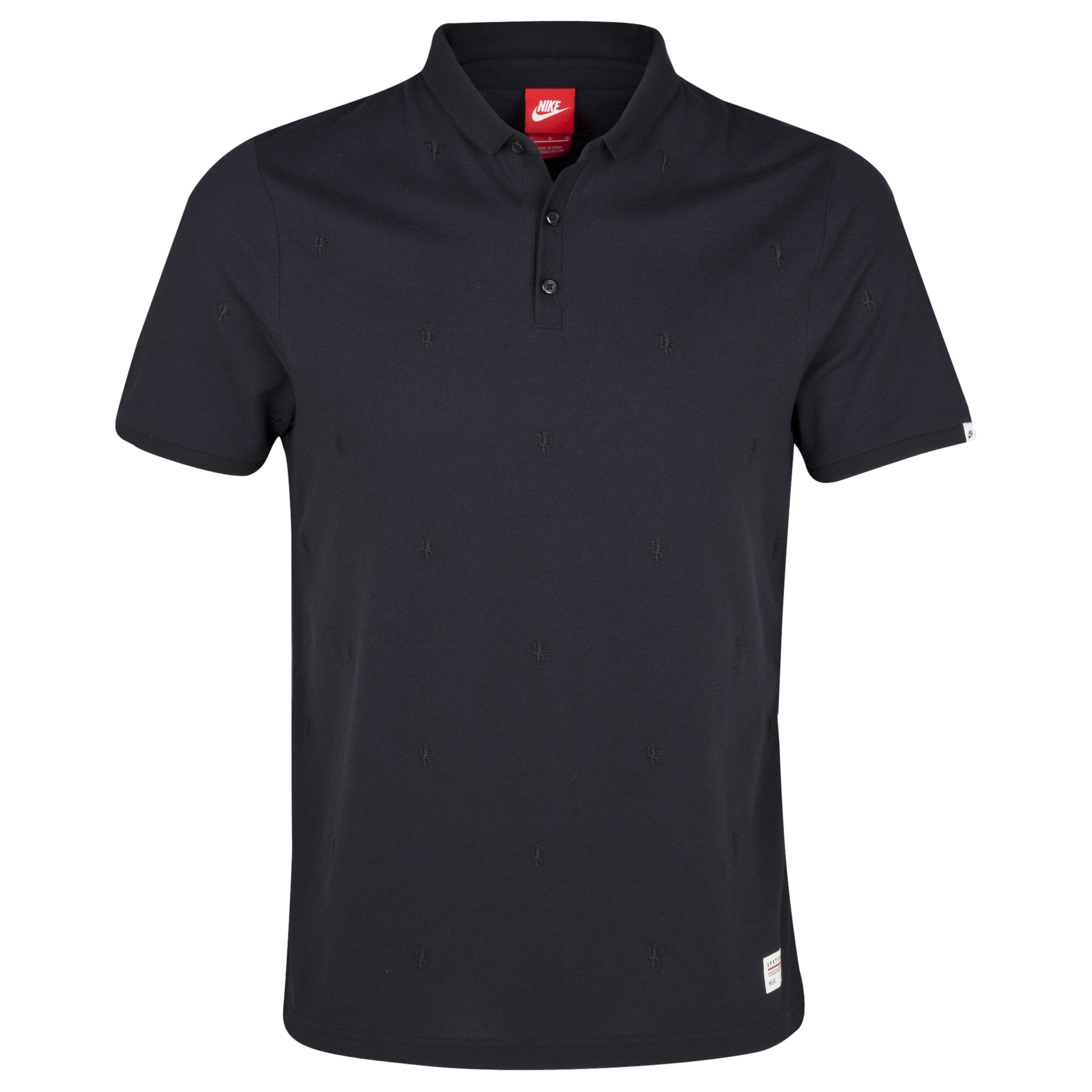 Manchester United Covert Embroidered Polo Black