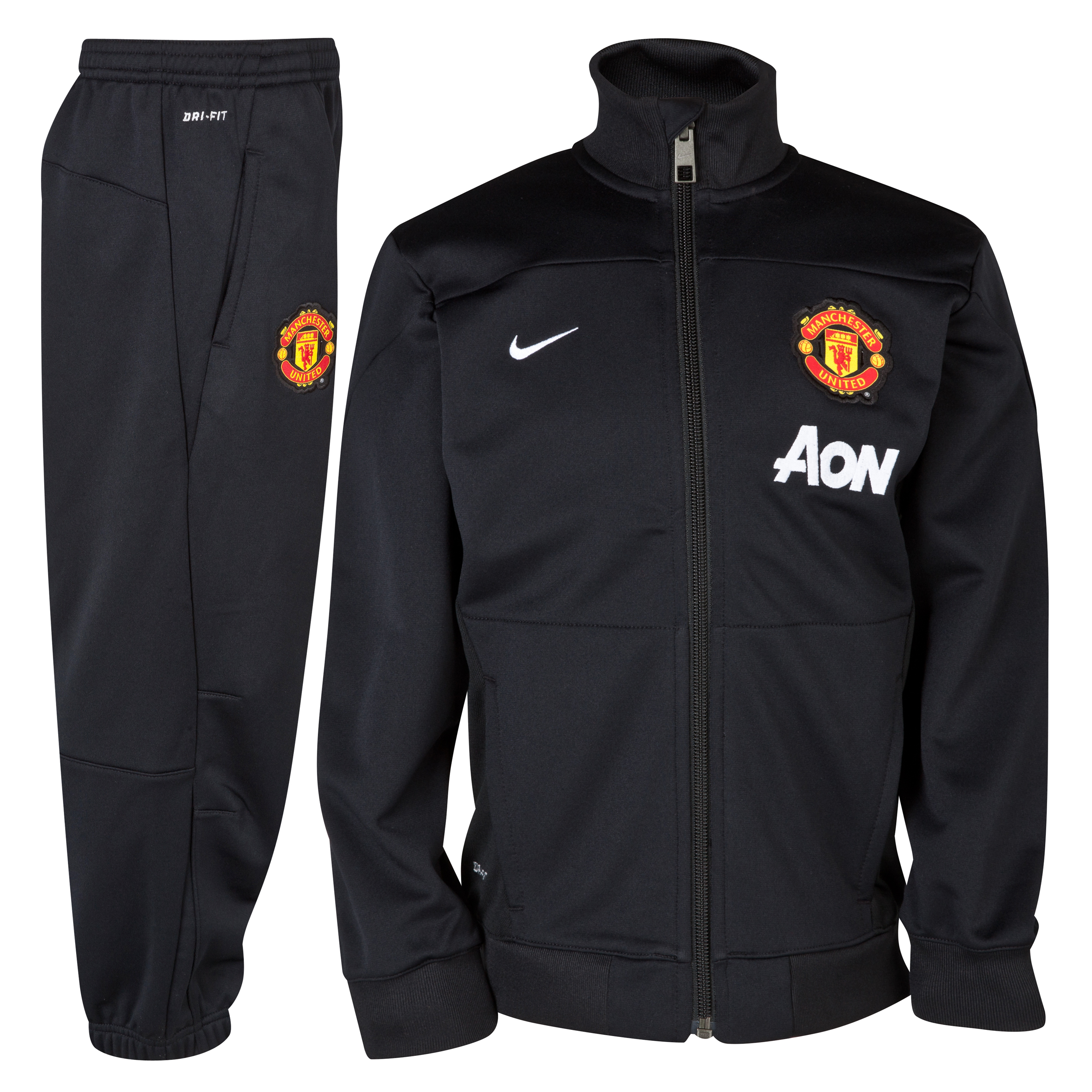 Manchester United Squad Sideline Knit Warm Up Tracksuit - Little Boys Black