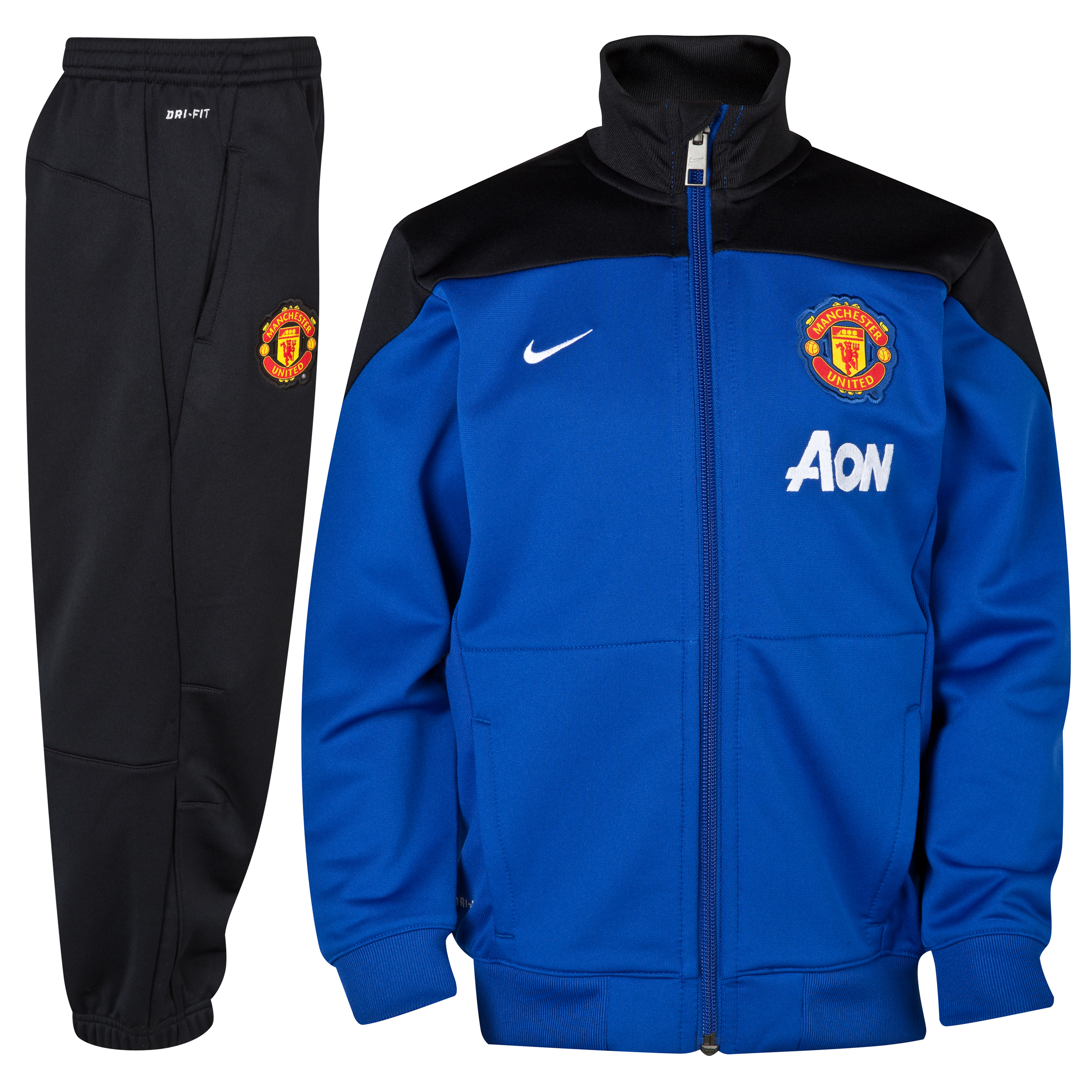 Manchester United Squad Sideline Knit Warm Up Tracksuit - Little Boys Blue