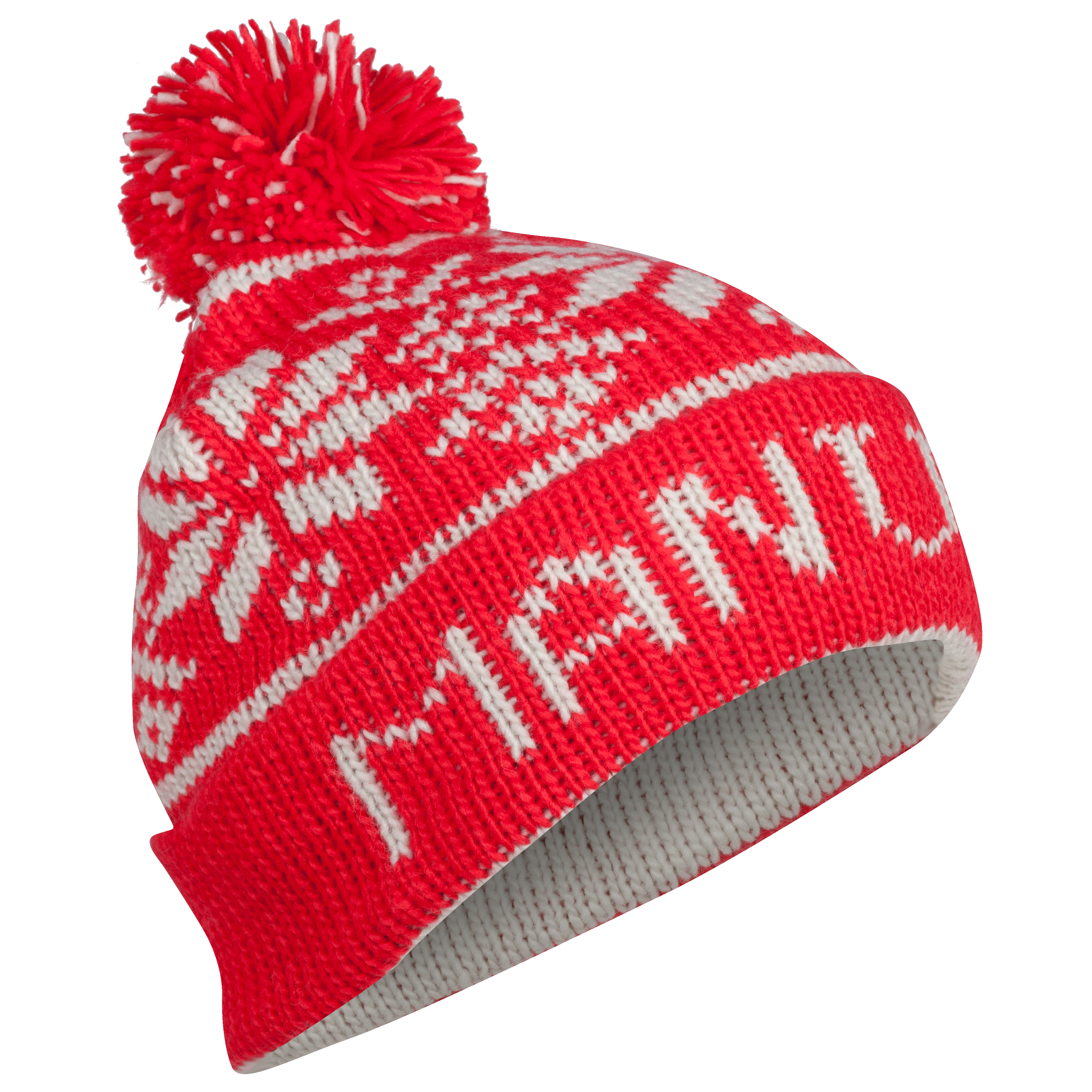 Manchester United Fairisle Bobble Beanie Hat - Adult Red