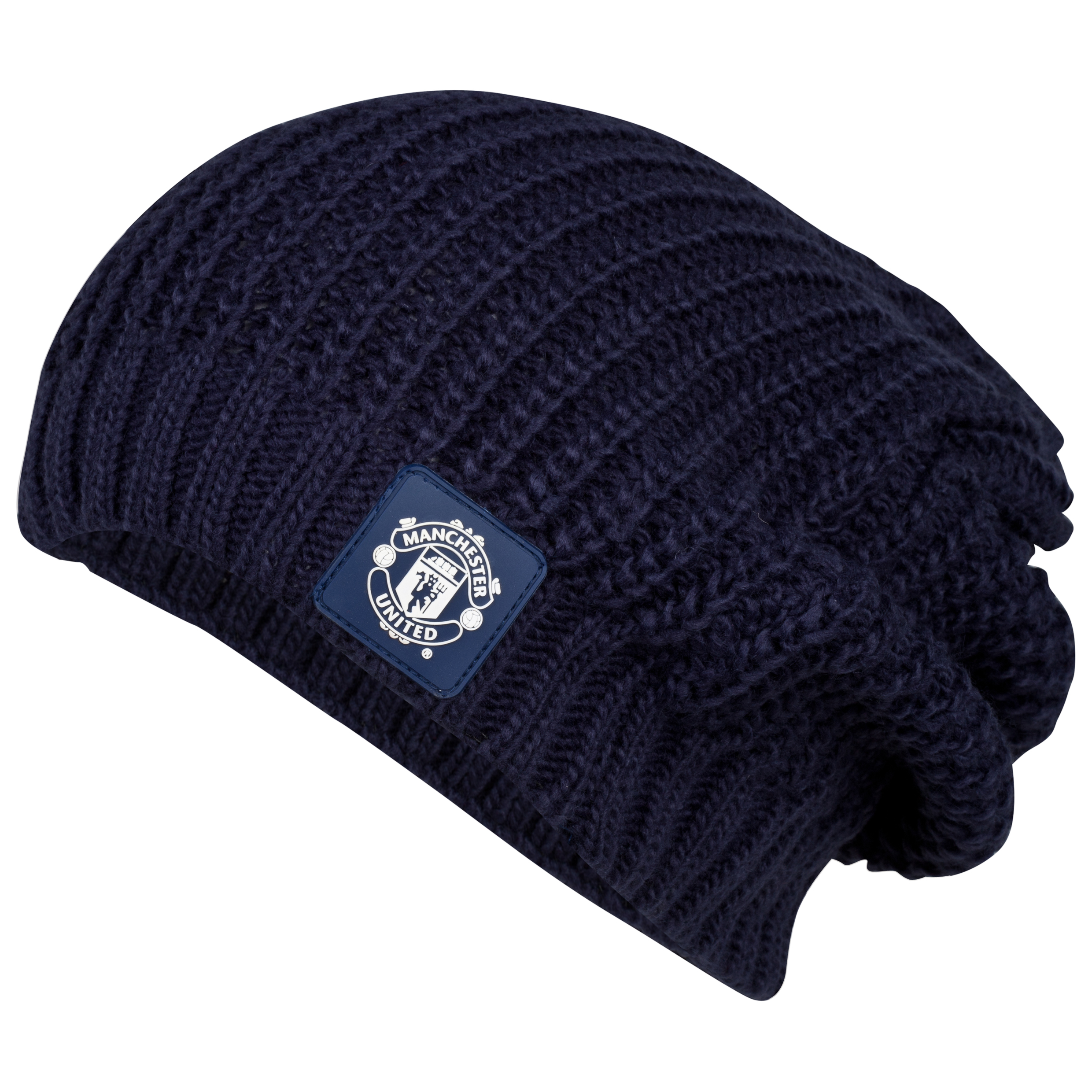Manchester United Oversized Fashion Beanie Hat - Womens Navy