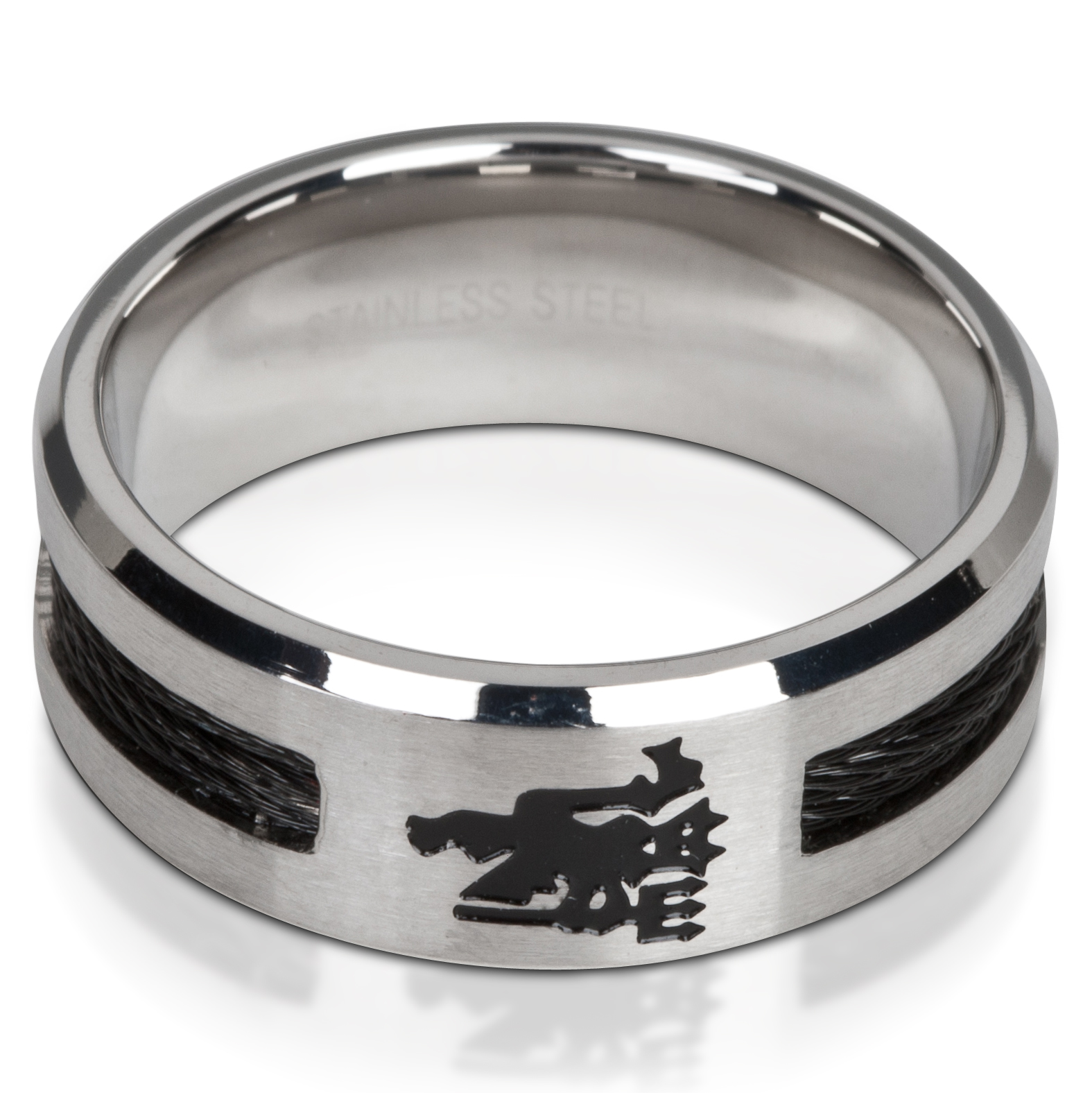 Manchester United Devil Black Inlay Ring - Stainless Steel