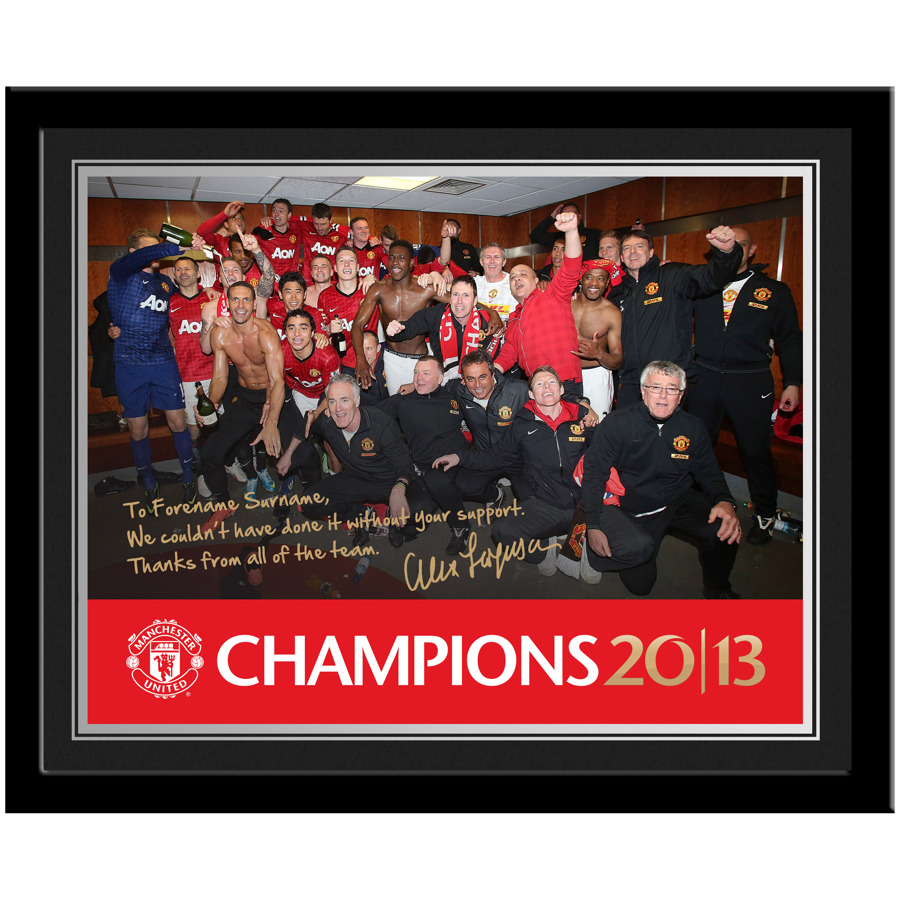 Manchester United Personalised Champions 2013 Photo Framed