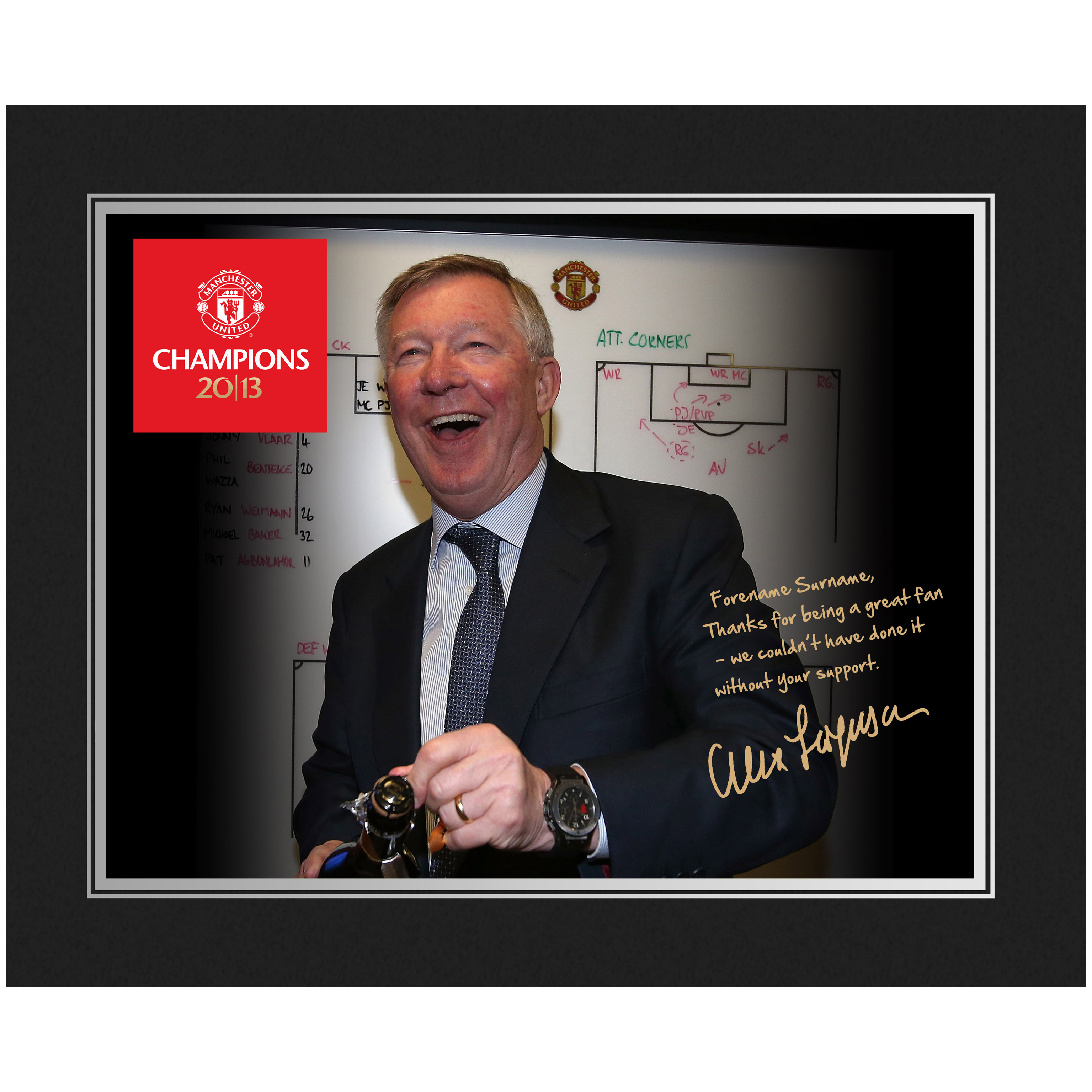 Manchester United Personalised Champions 2013 Player Photo in Presentation Folder - Ferguson