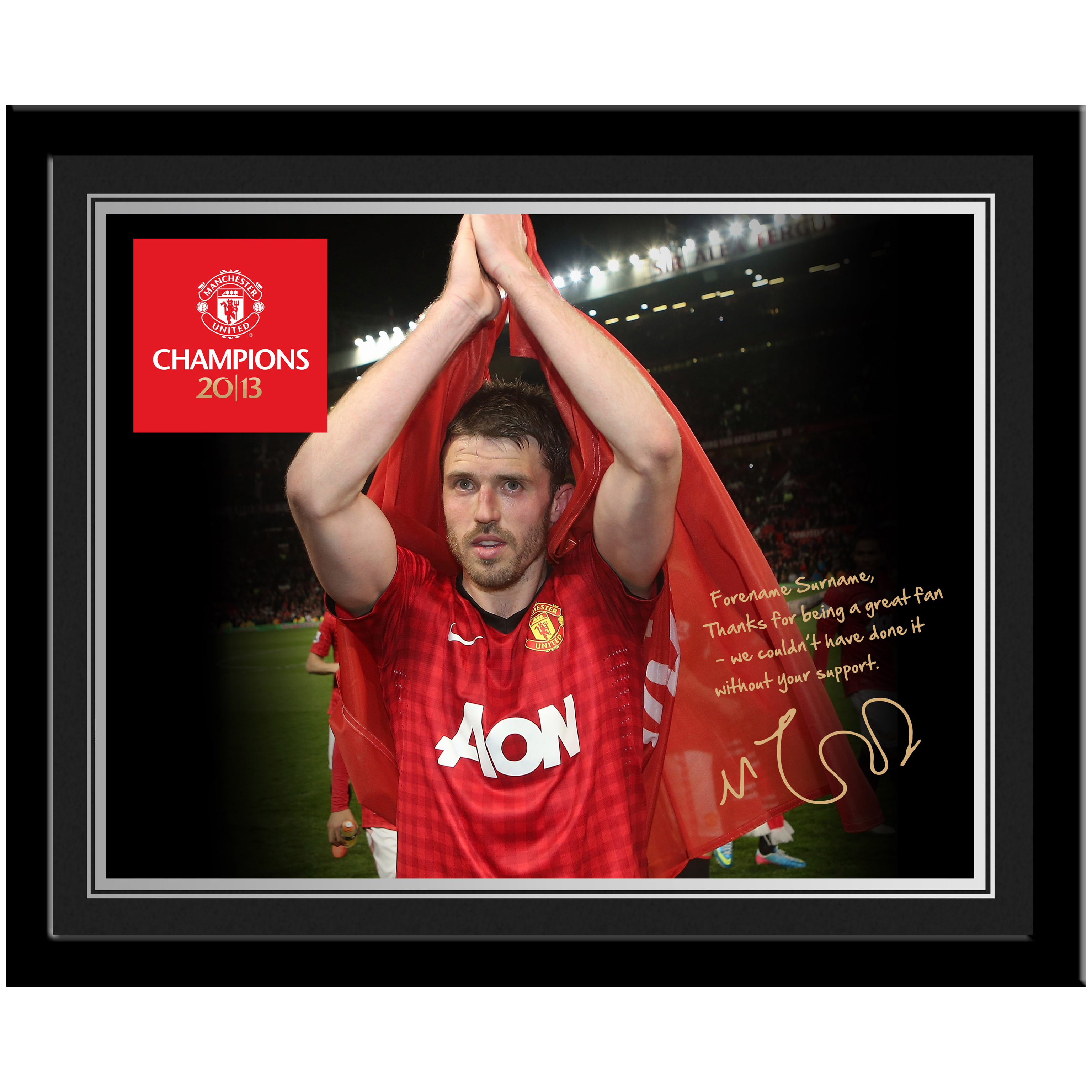 Manchester United Personalised Champions 2013 Player Photo Framed - Carrick