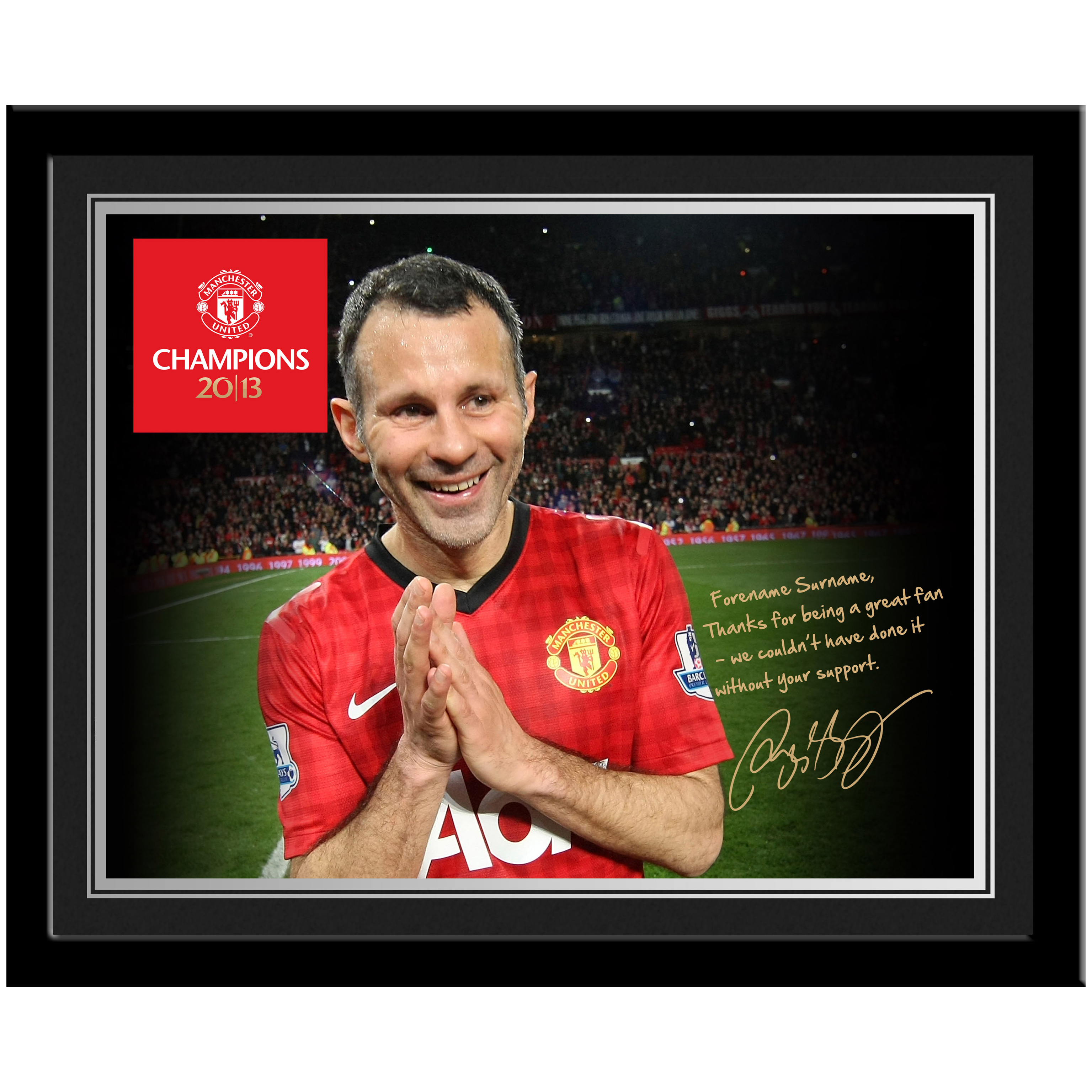 Manchester United Personalised Champions 2013 Player Photo Framed - Giggs