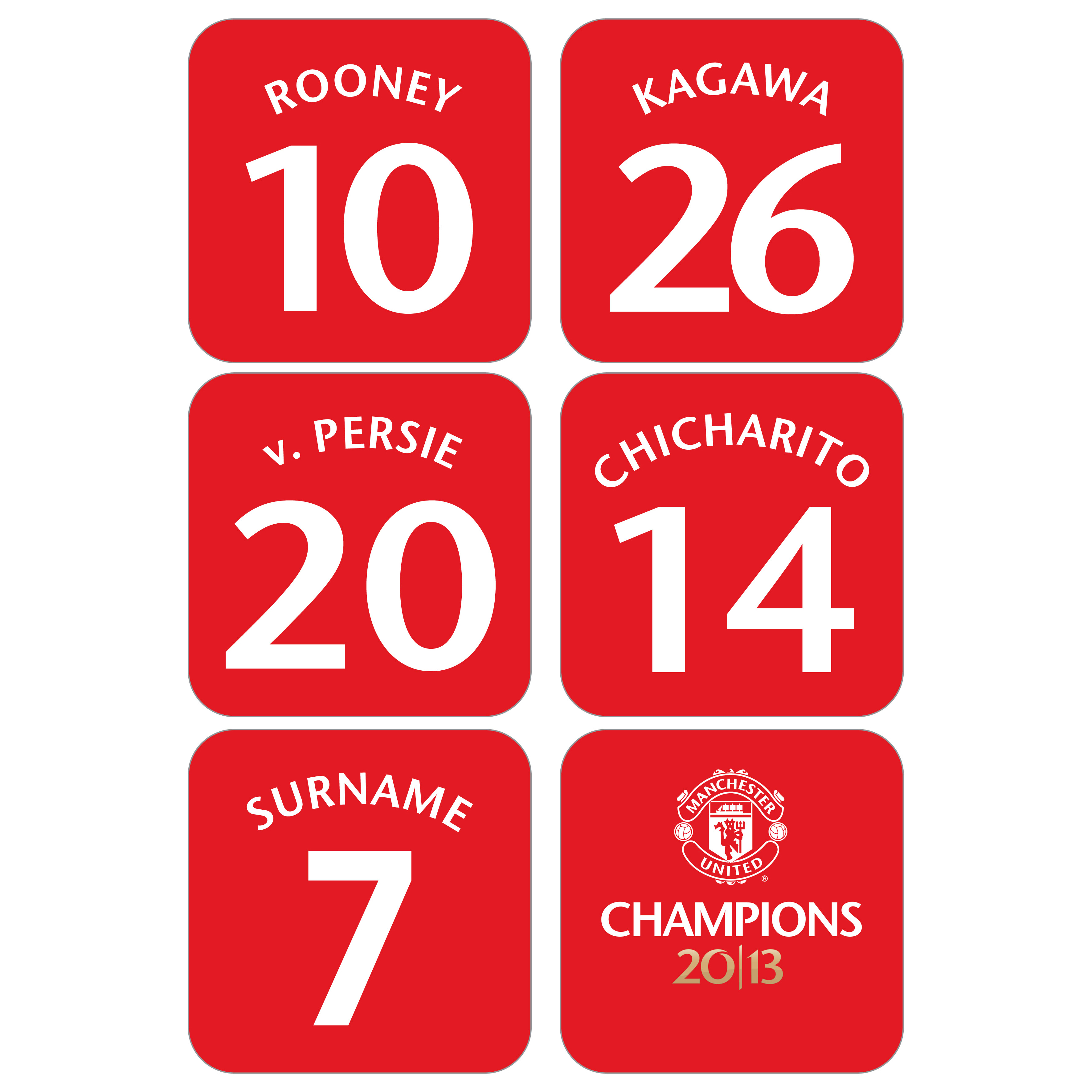 Manchester United Personalised Champions 2013 Coasters - White