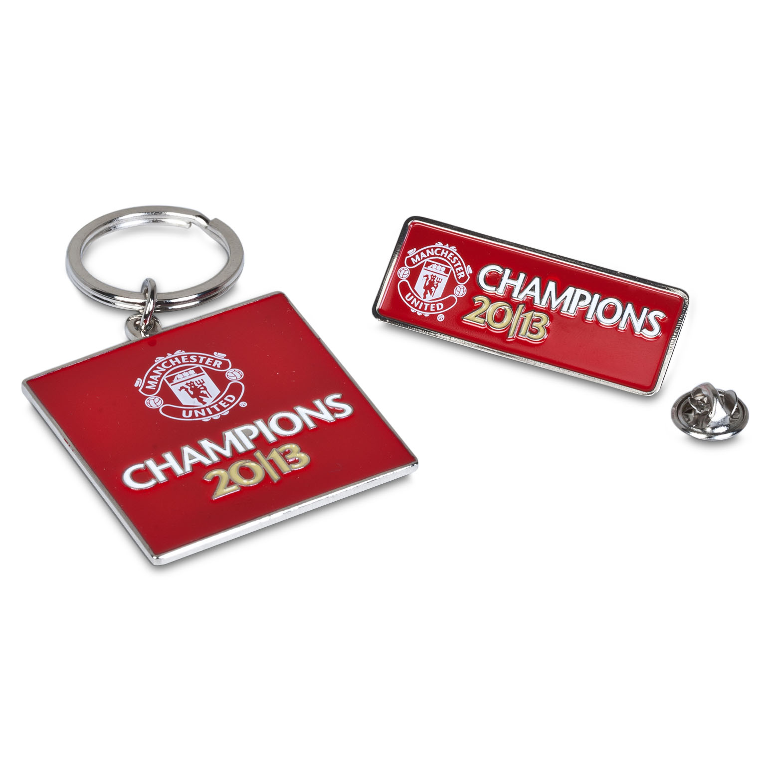 Manchester United Champions 2013 Metal Keyring & Badge Set