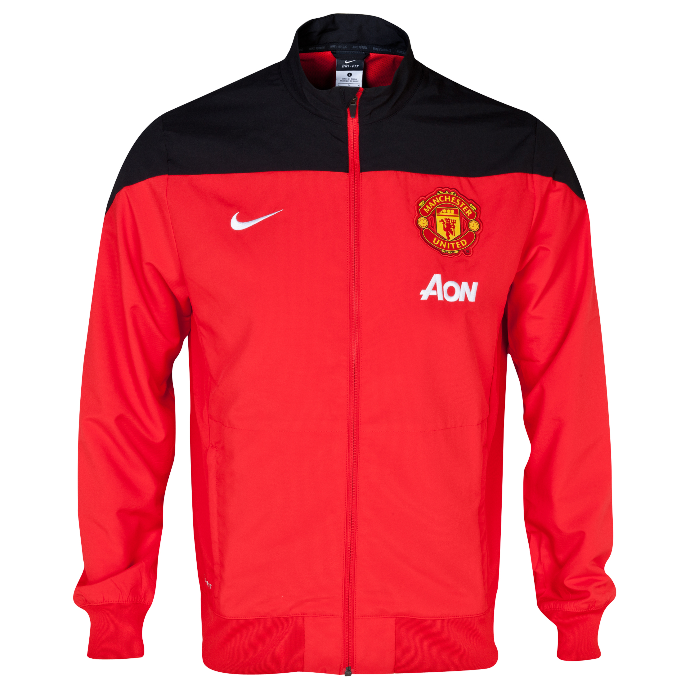 Manchester United Squad Sideline Woven Jacket - Challenge Red/Black/White