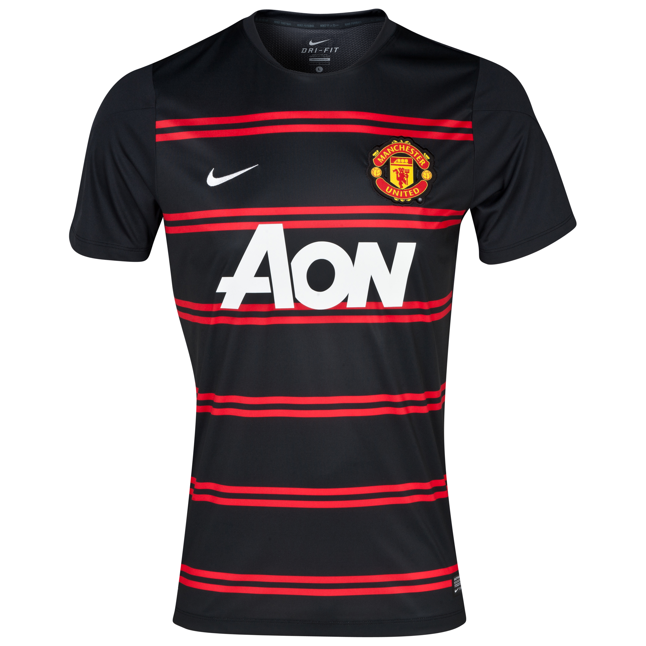 Manchester United Squad Short Sleeve Pre Match Top - Black/Red Black