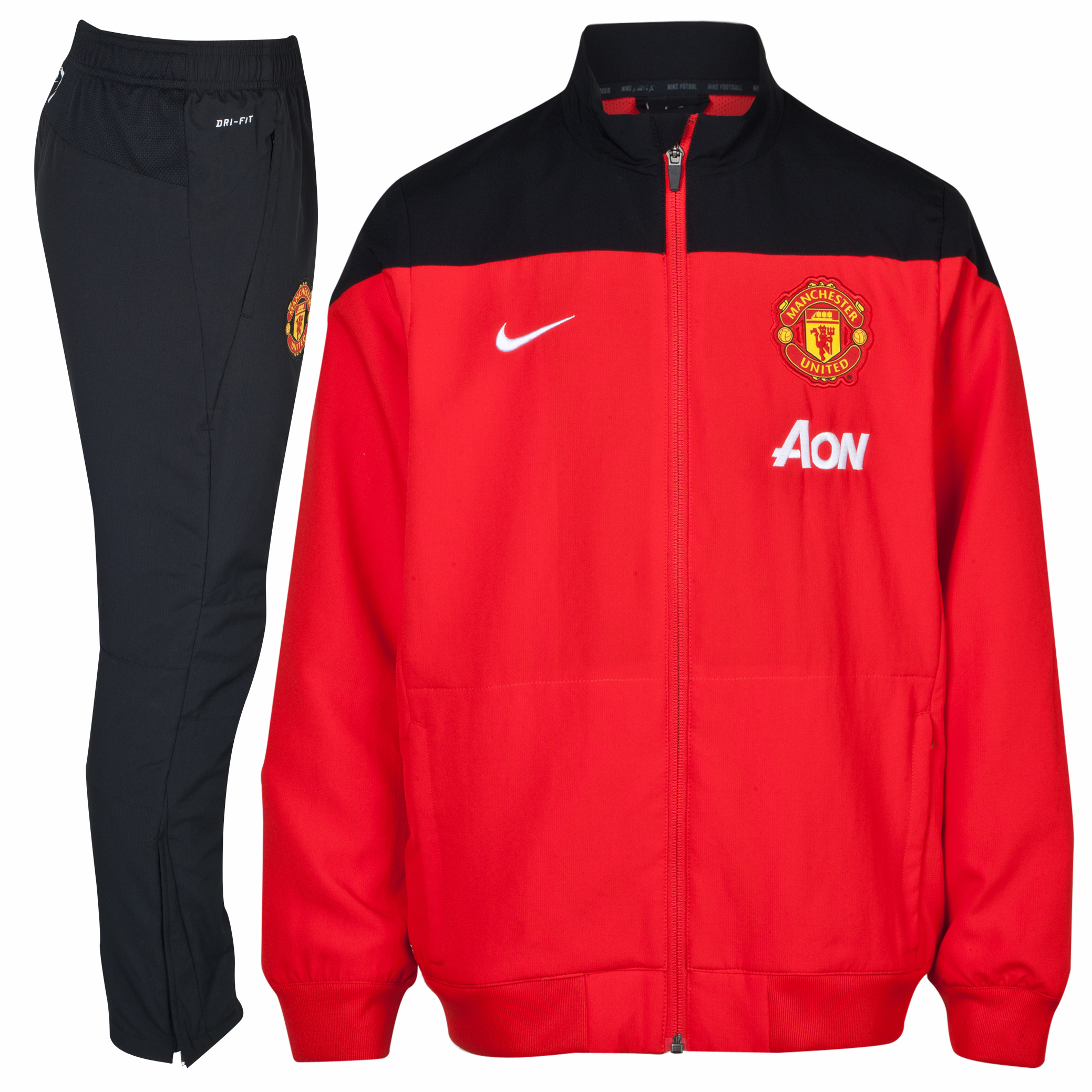 Manchester United Squad Woven Warm Up Tracksuit - Challenge Red/Black/White - Kids Red