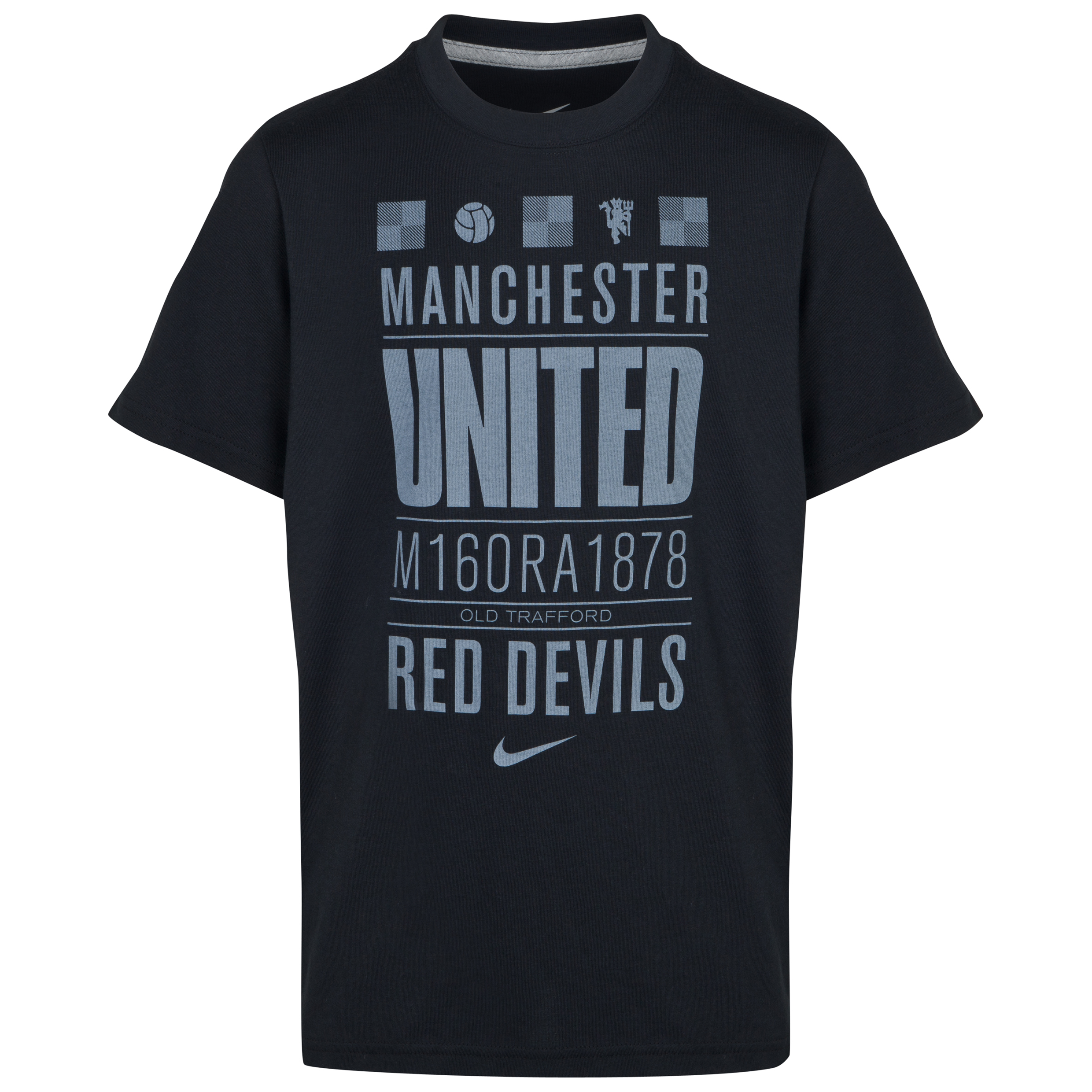 Manchester United Core Plus T-Shirt - Black/Dark Grey Heather Black