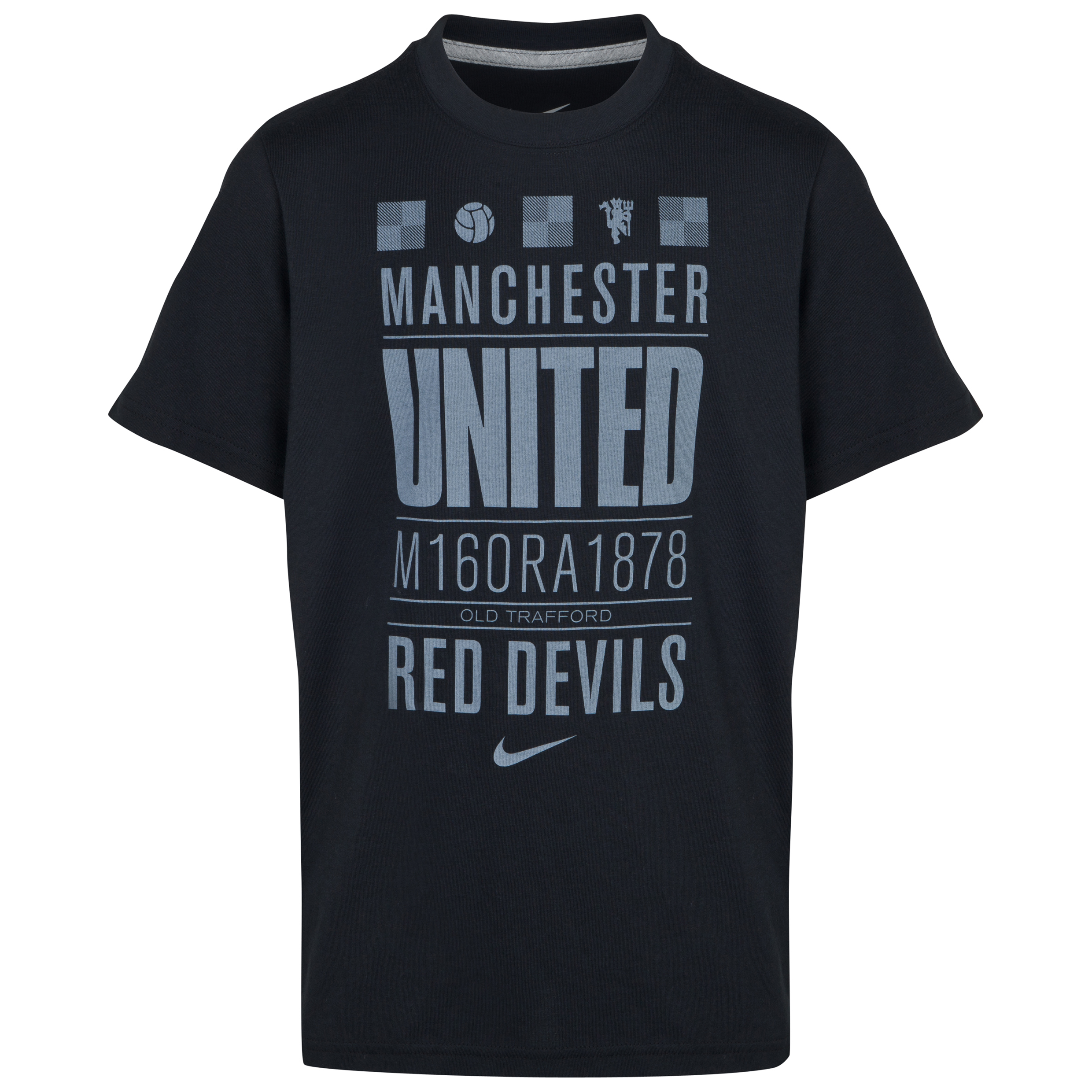 Manchester United Core Plus T-Shirt - Black/Dark Grey Heather - Kids Black