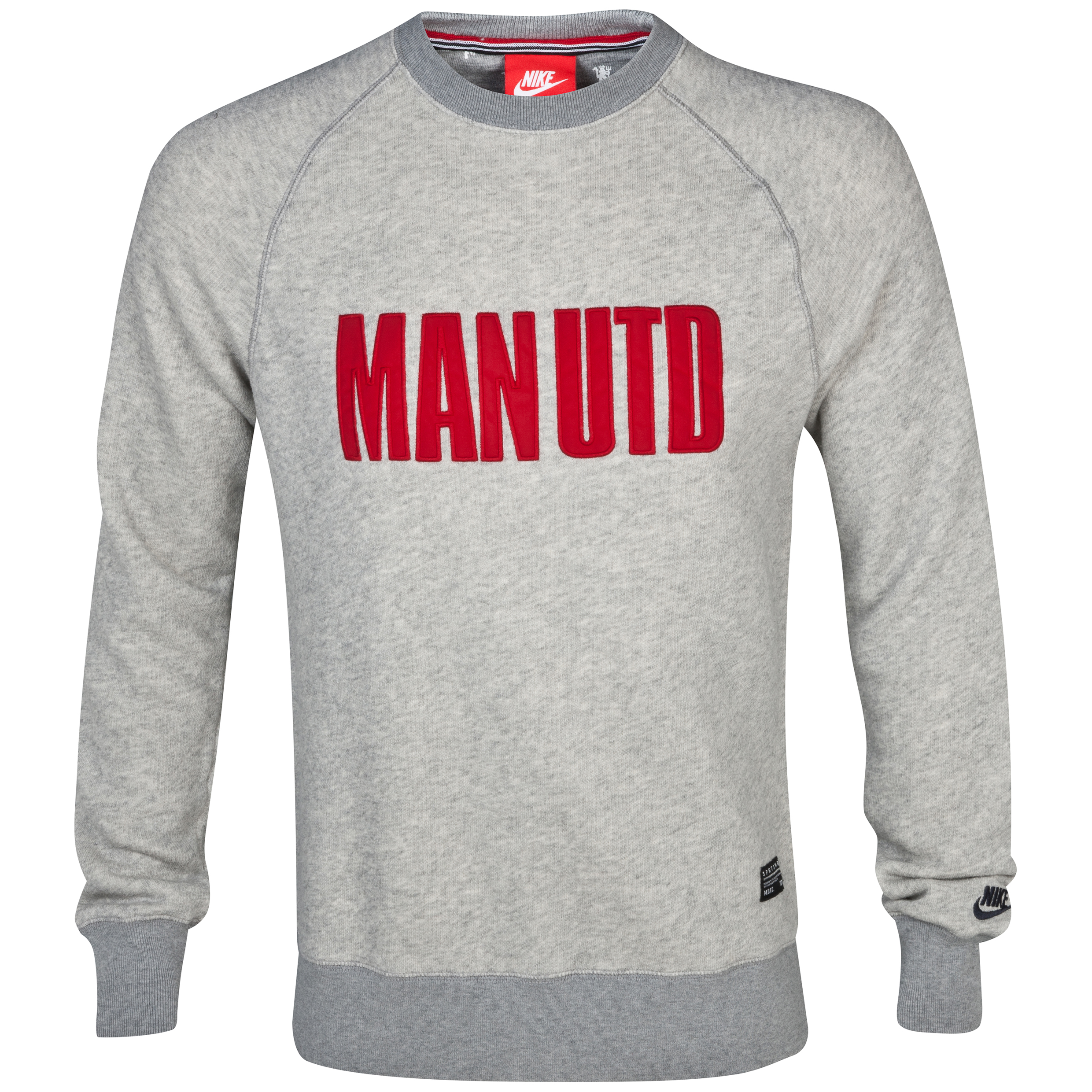 Manchester United Covert AW77 Crew Sweatshirt - Dark Grey Heather/Gym Red/Anthracite Dk Grey