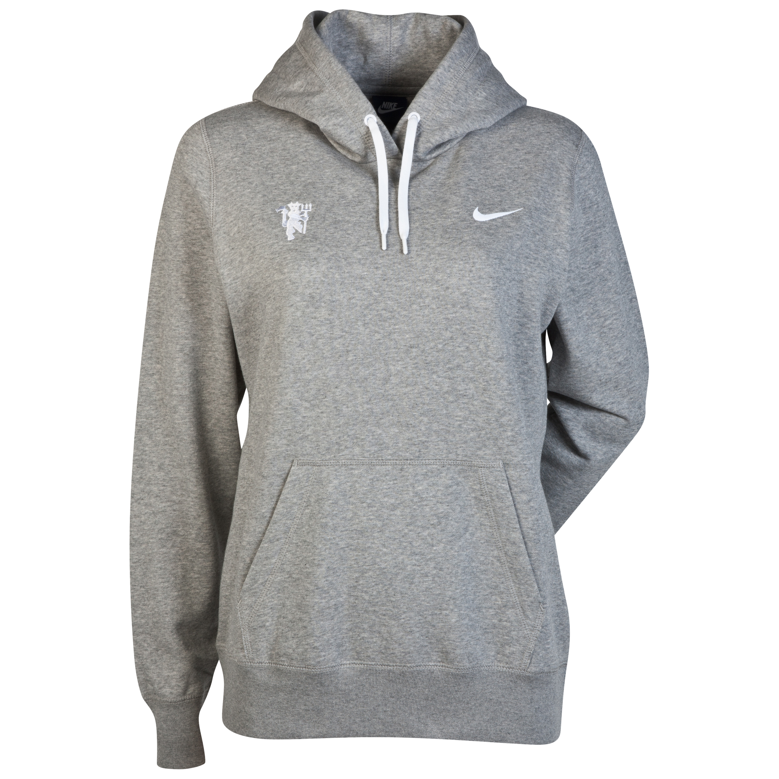 Manchester United Club Hoody - Dark Grey Heather/White - Womens Dk Grey