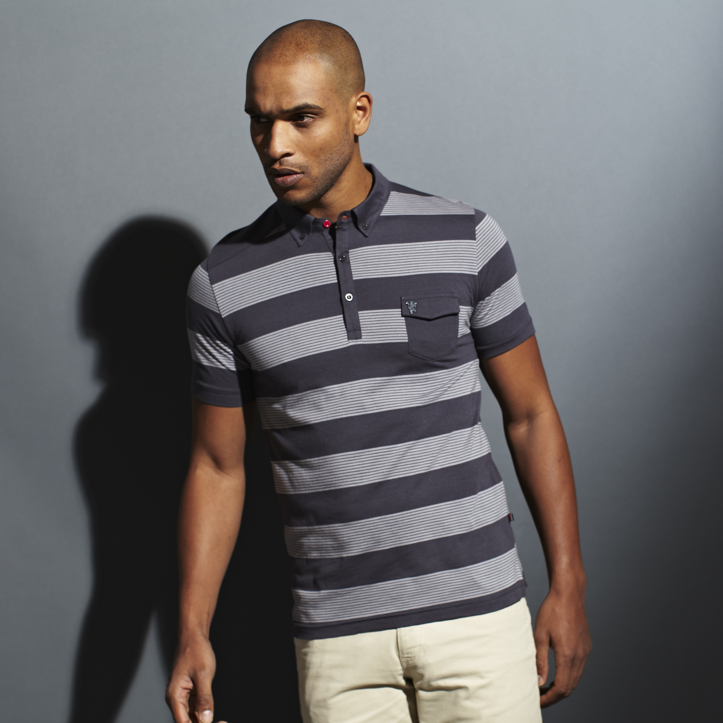 Manchester United Red Label Striped Pocket Polo - Mens Black