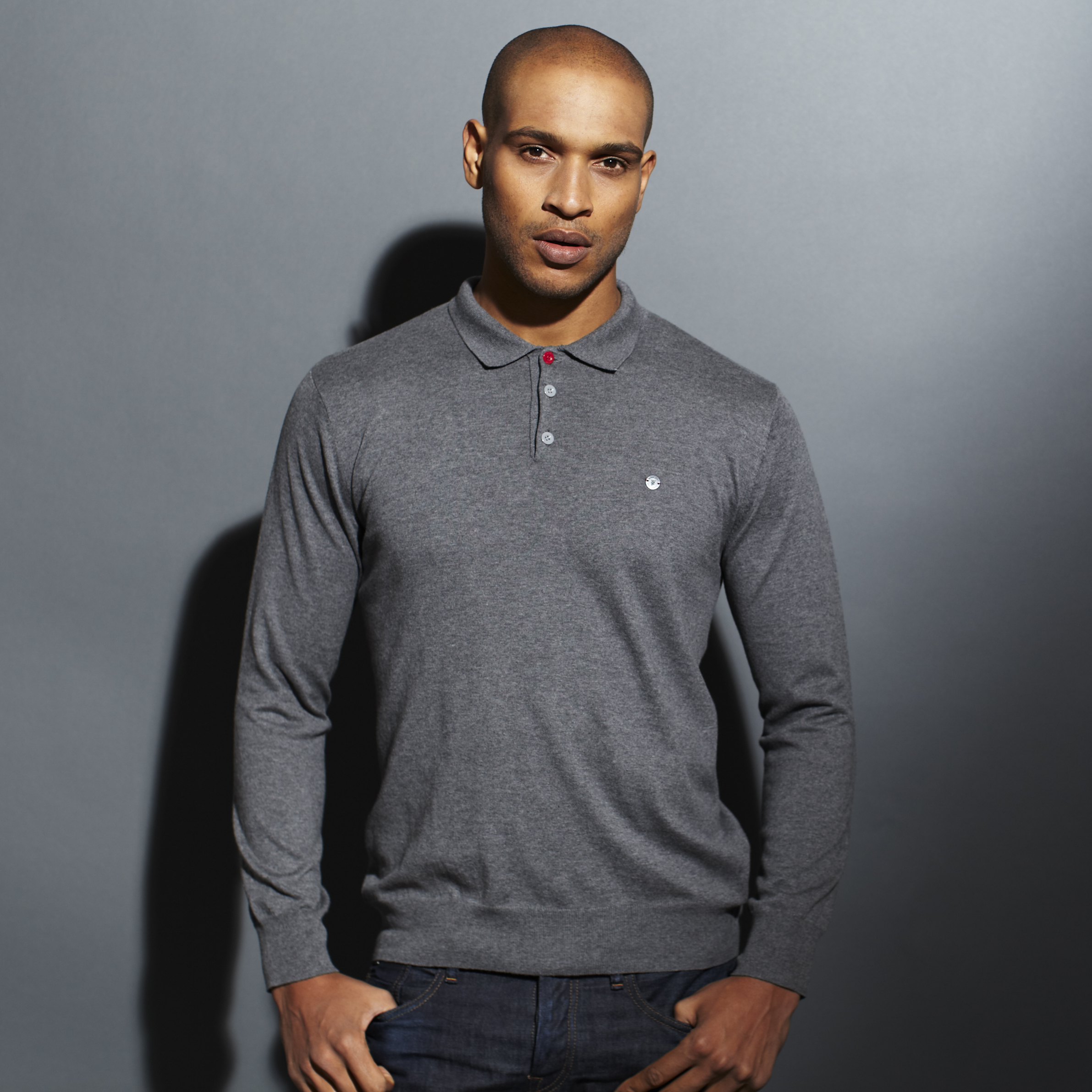 Manchester United Red Label Knitted Polo - Mens Grey