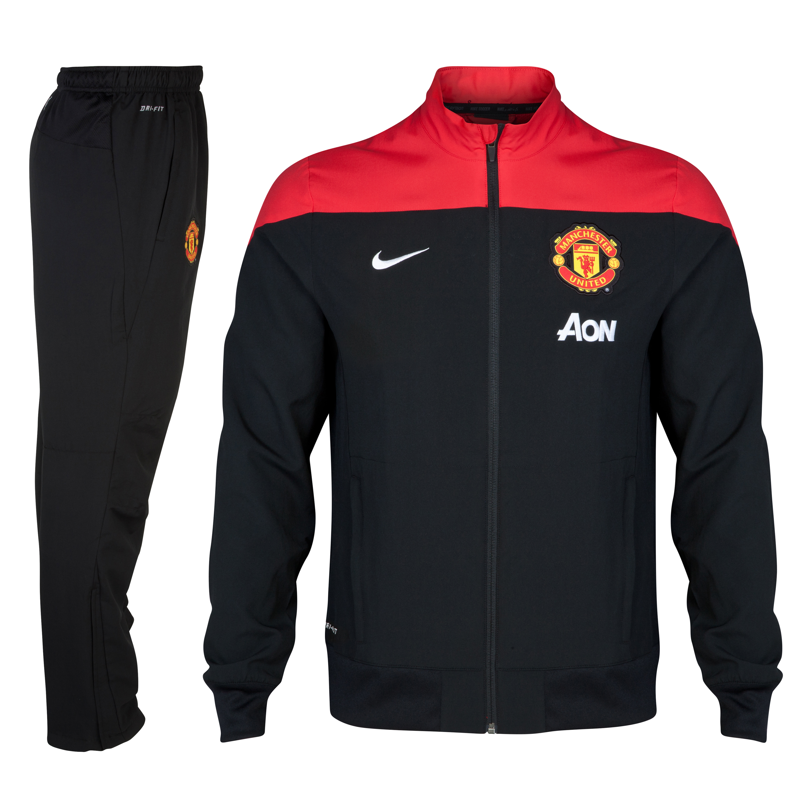 Manchester United Squad Sideline Woven Warm Up Tracksuit - Kids Black