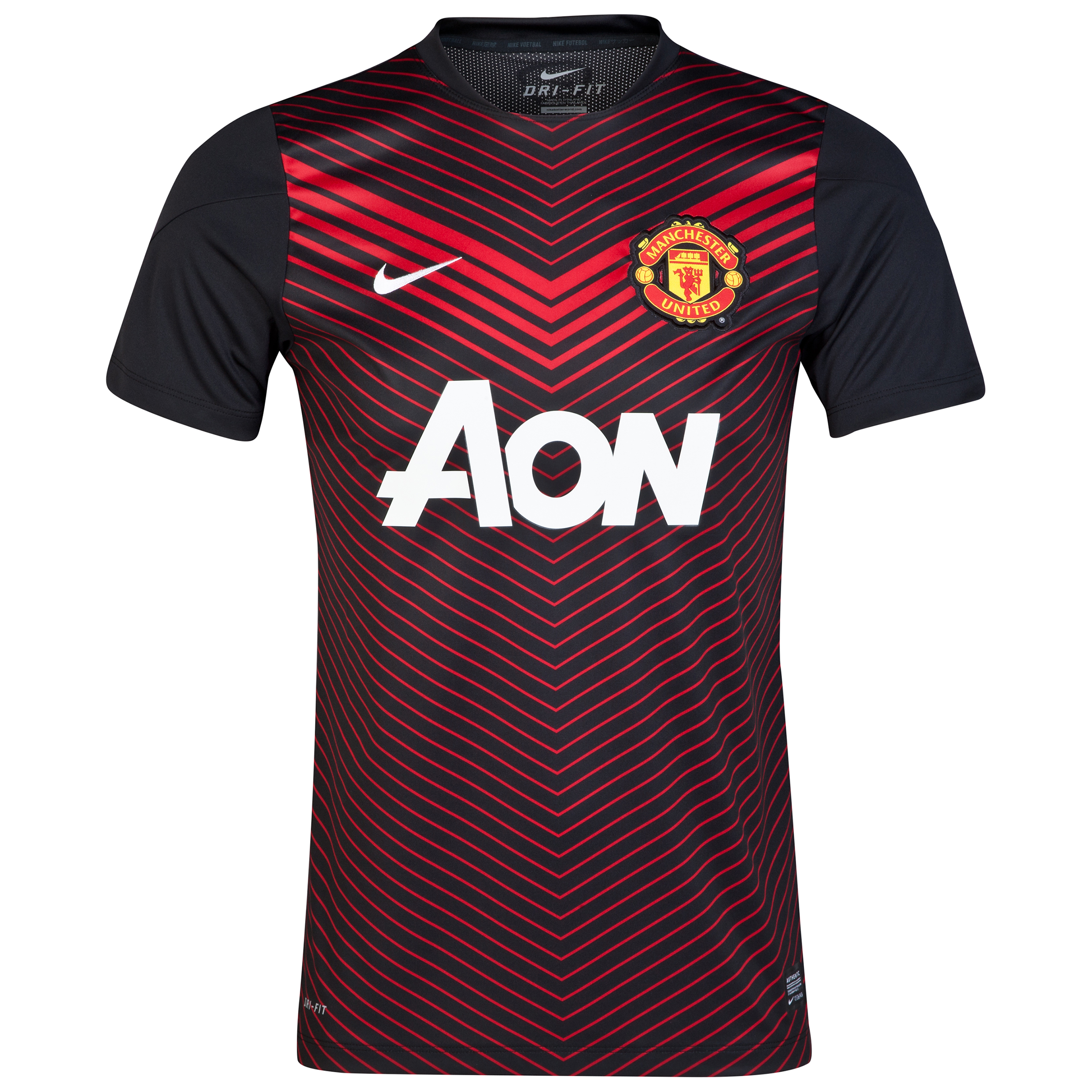 Manchester United Squad Short Sleeve Pre Match Top - Kids Black