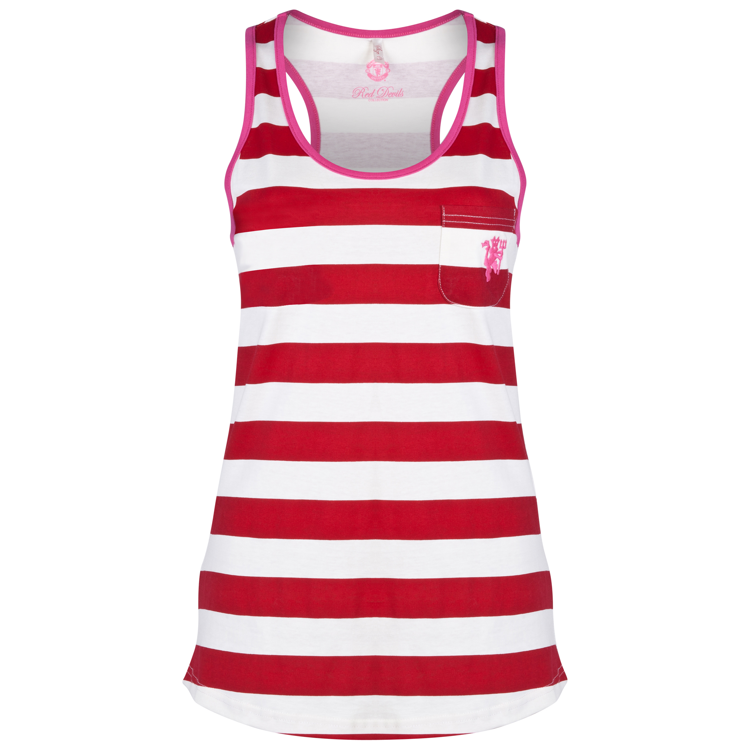 Manchester United Striped Vest - Womens Red