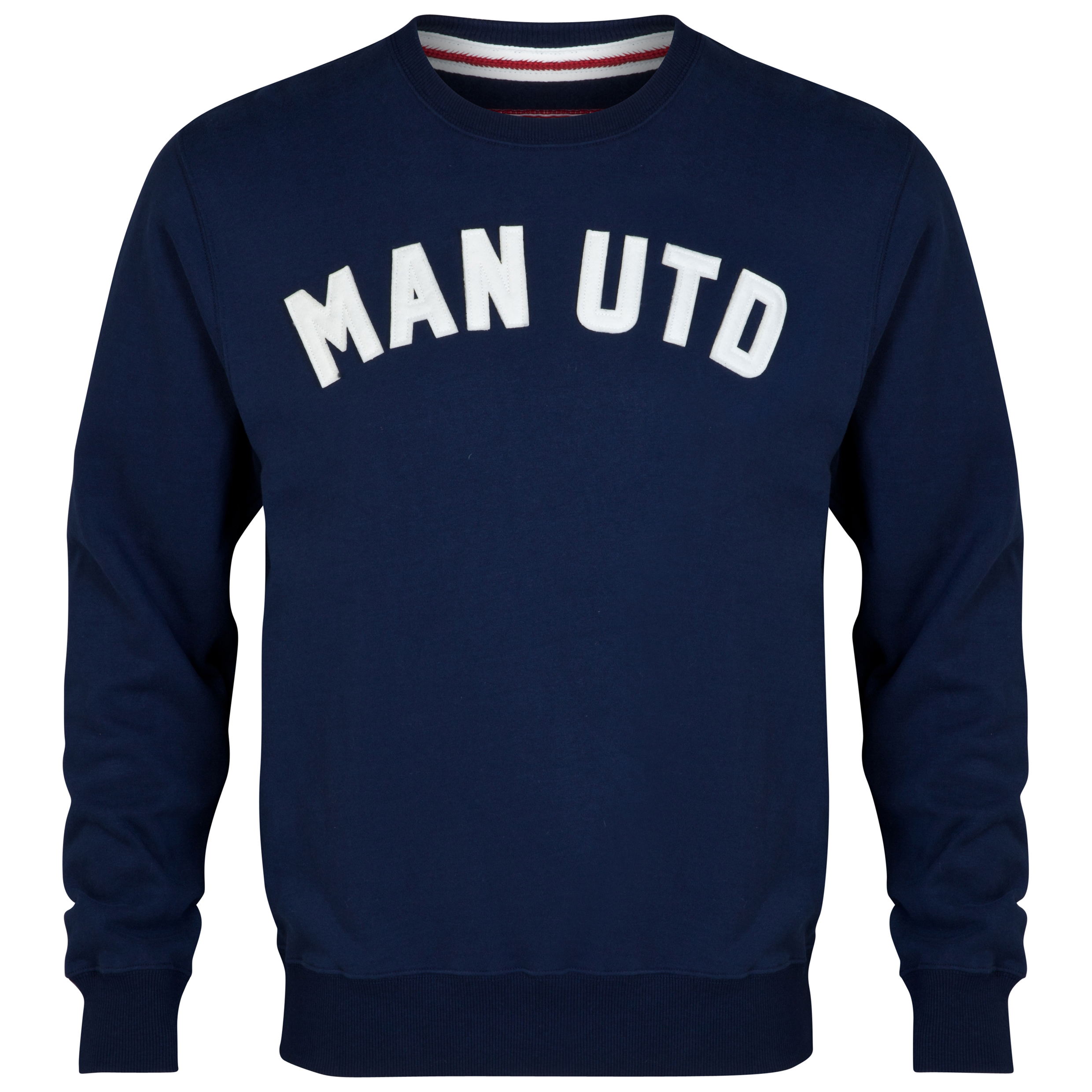 Manchester United Heritage Devil Crew Neck Sweater - Mens Navy