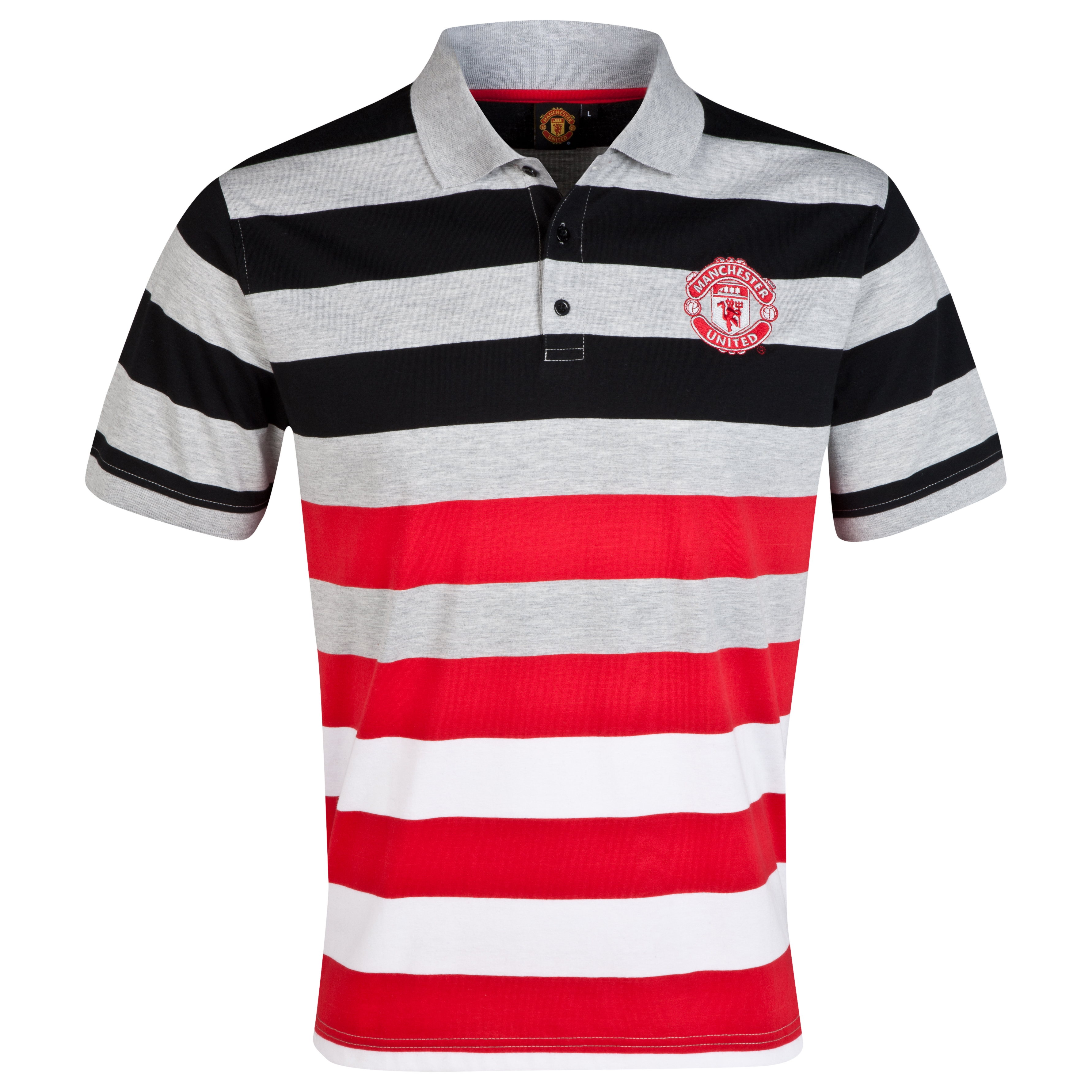 Manchester United Classic Striped Polo Shirt - Mens Multi