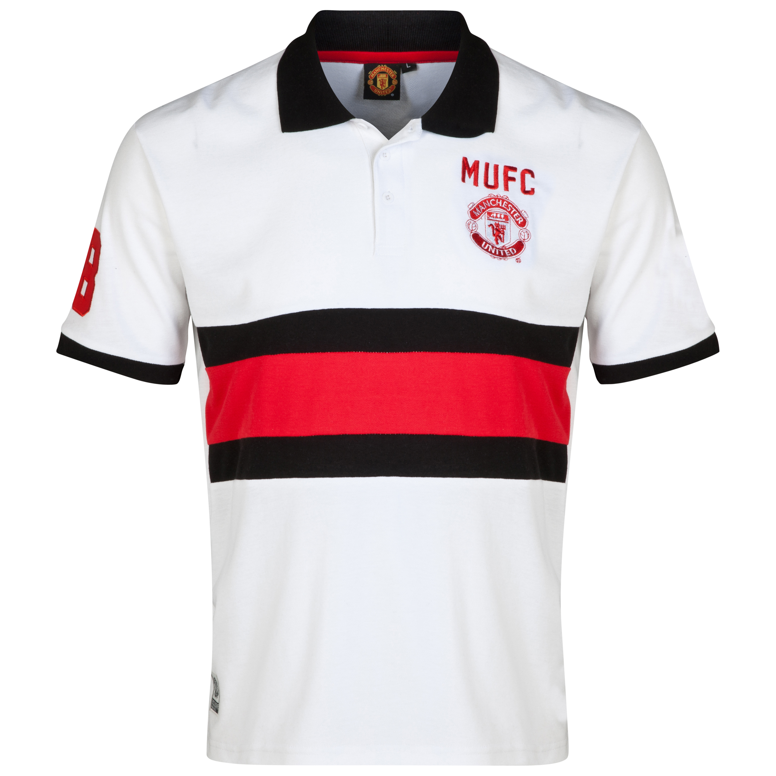 Manchester United Classic Cut and Sew Polo Shirt - Mens White