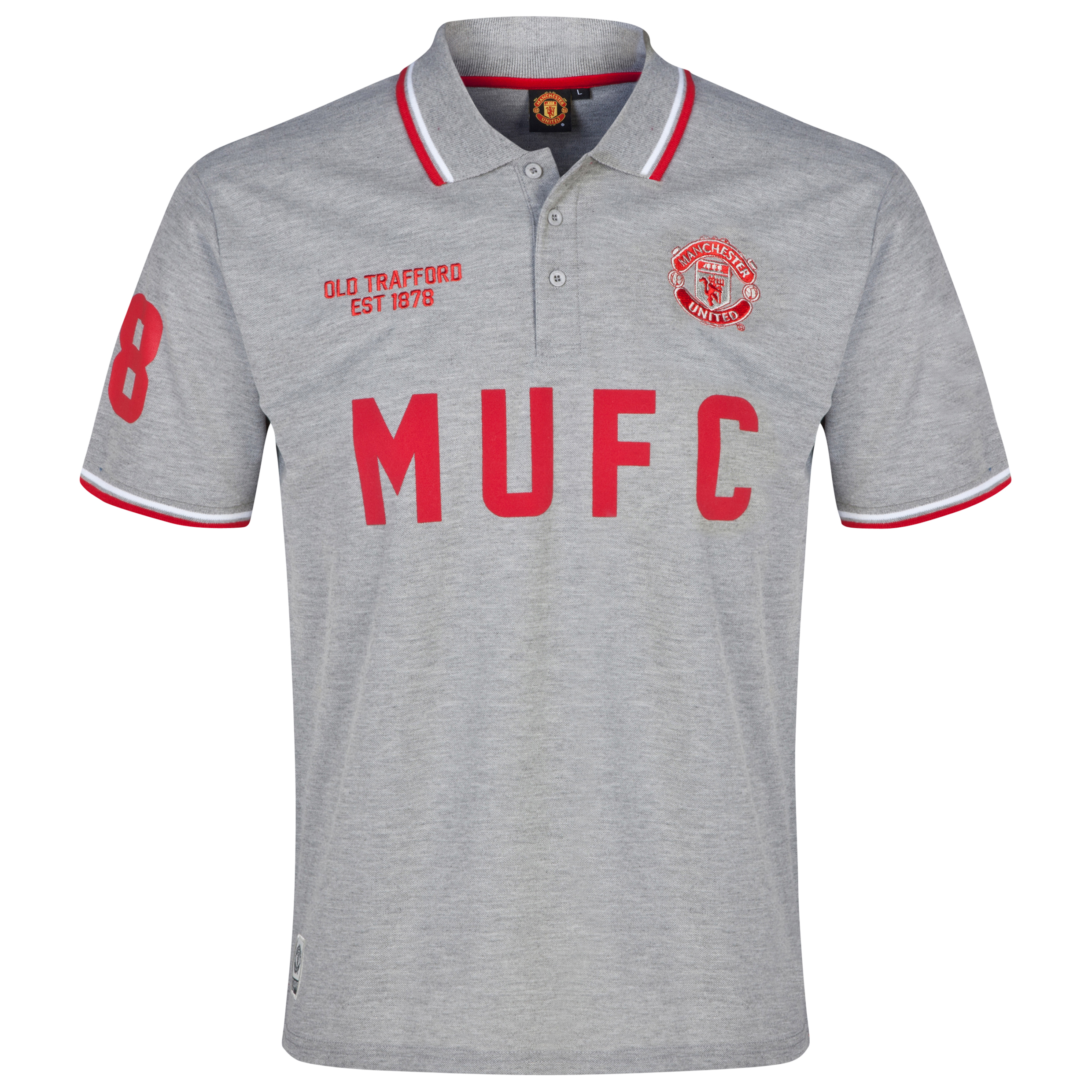 Manchester United Classic MUFC Polo Shirt - Mens Grey