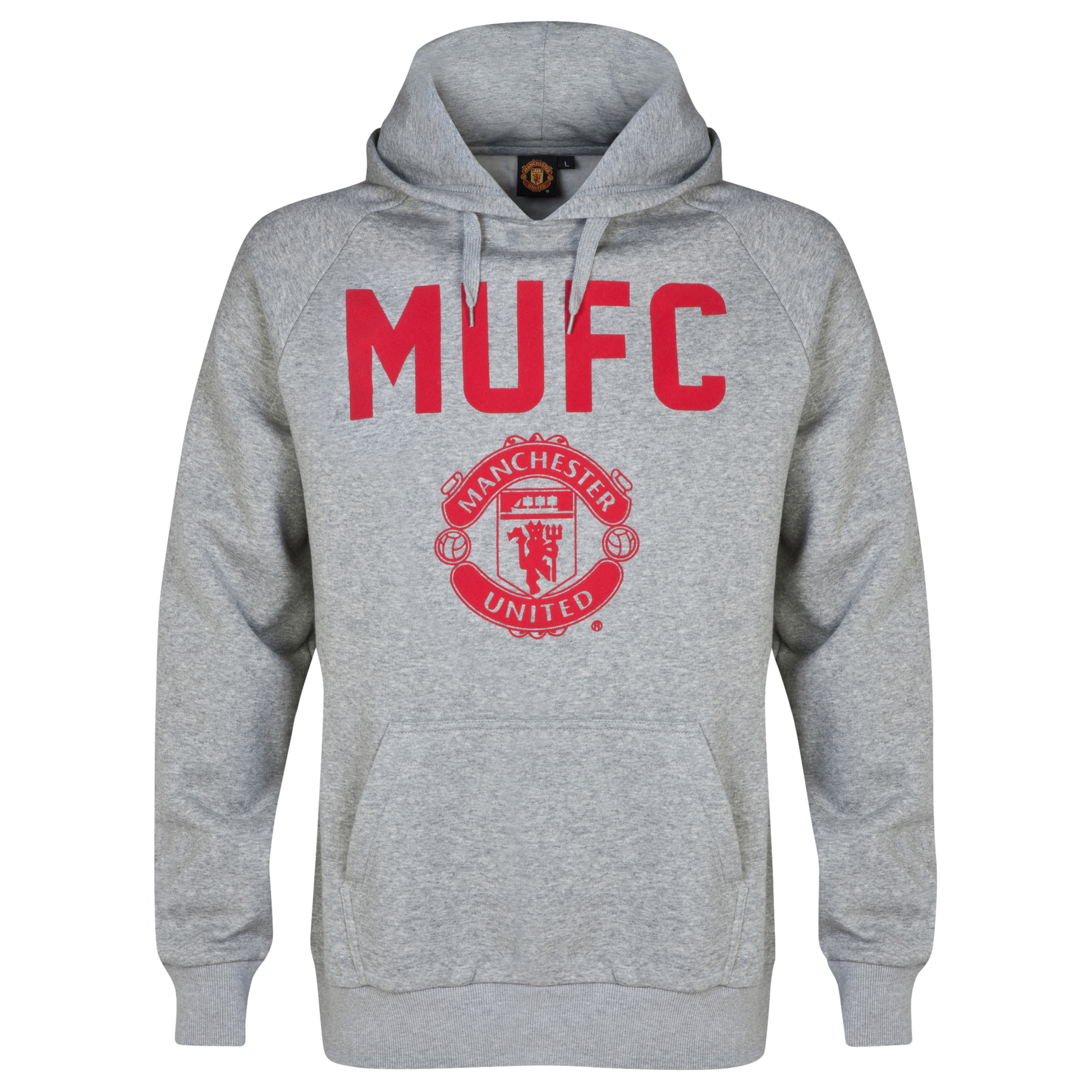 Manchester United Classic MUFC Over The Head Hoodie - Mens Grey