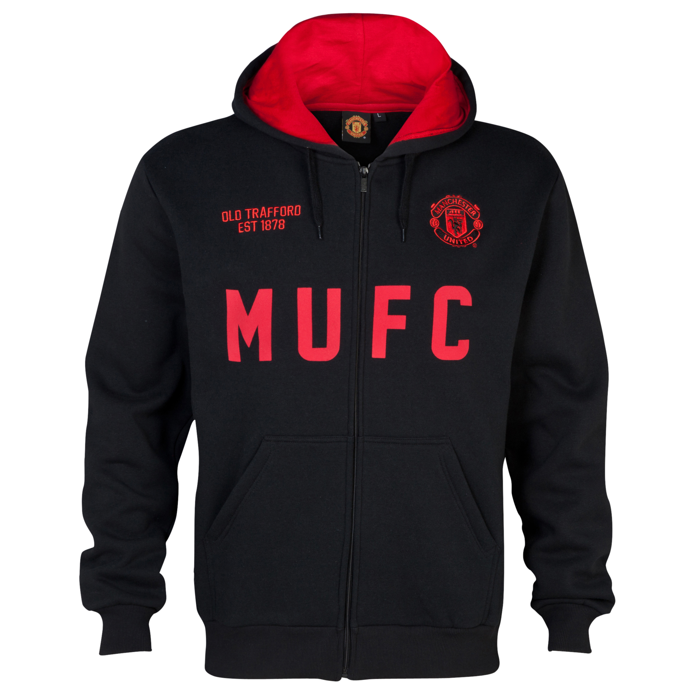 Manchester United Classic MUFC Full Zip Hoodie - Mens Black