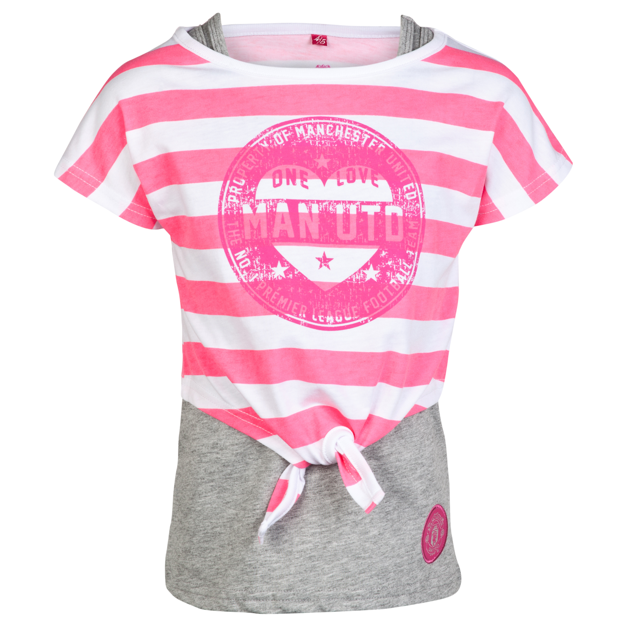 Manchester United Double Layer Tie T-Shirt - Girls Grey