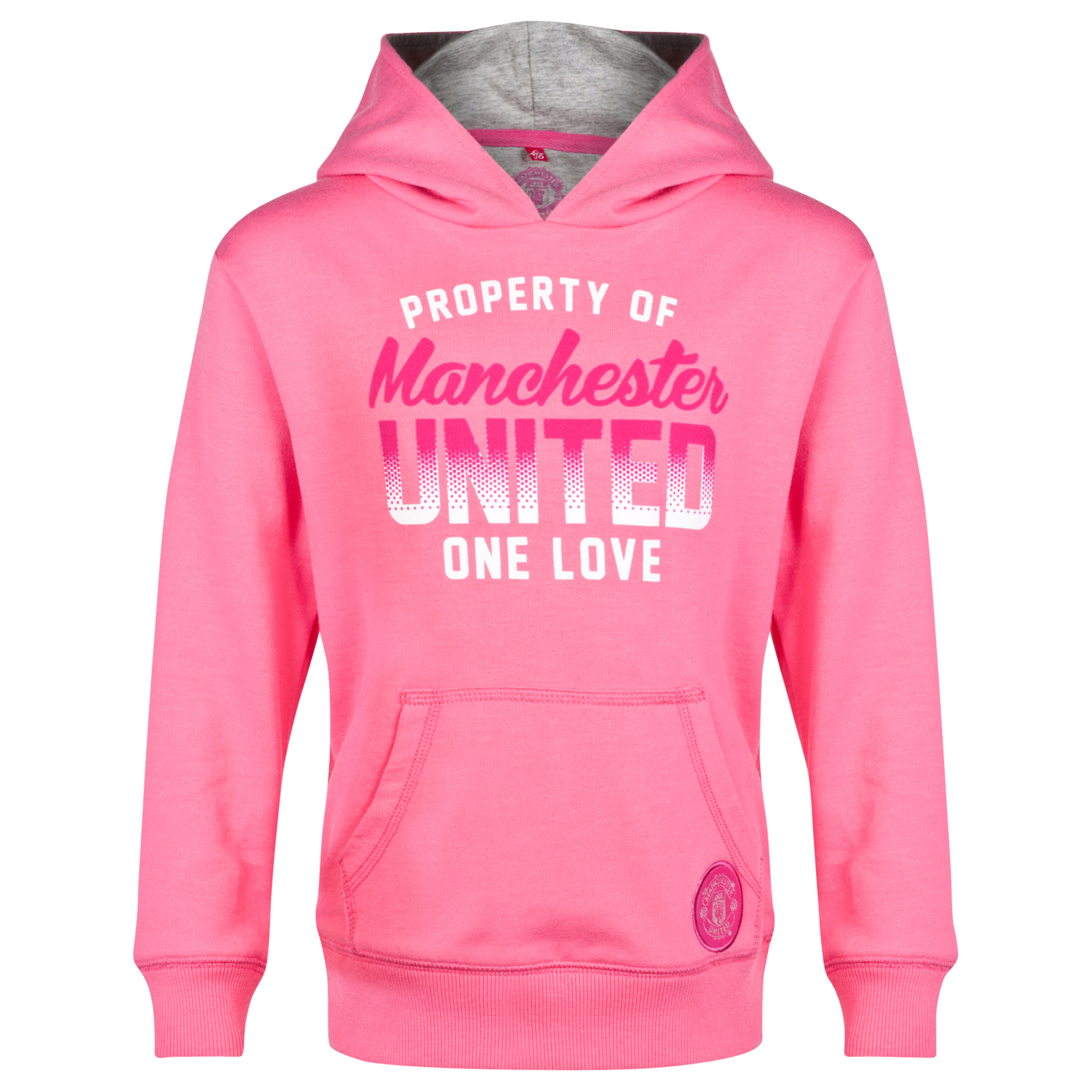 Manchester United Graphic Over The Head Hoodie - Girls Pink