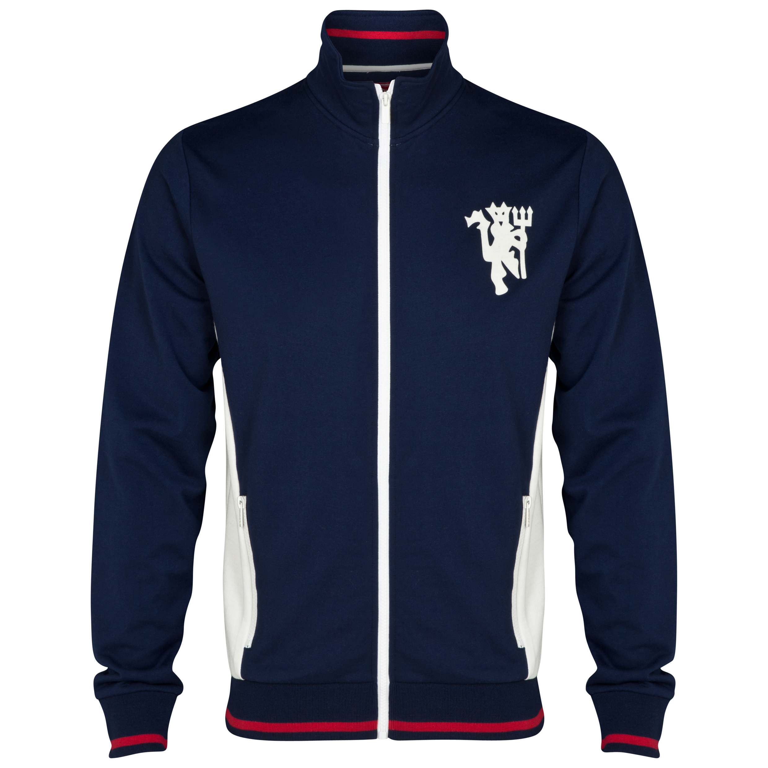 Manchester United Heritage Retro Zip Through Jacket - Mens Navy