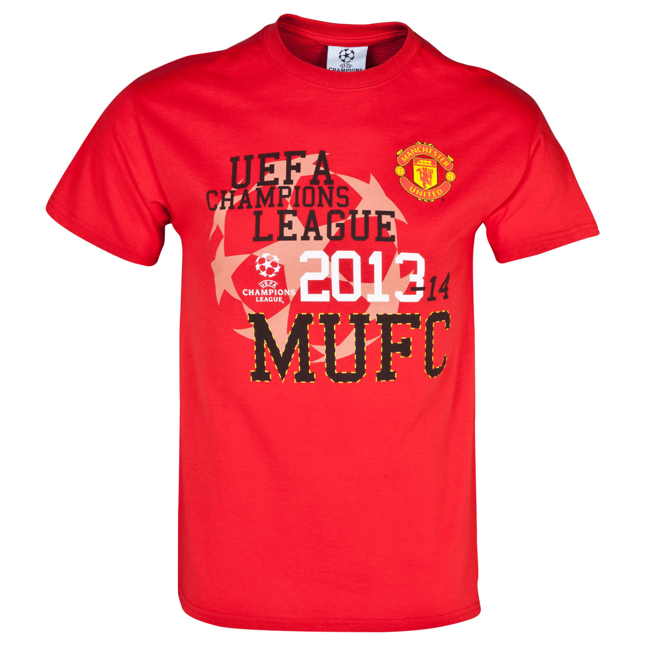 Manchester United UEFA Champions League Graphic T-Shirt - Mens Red